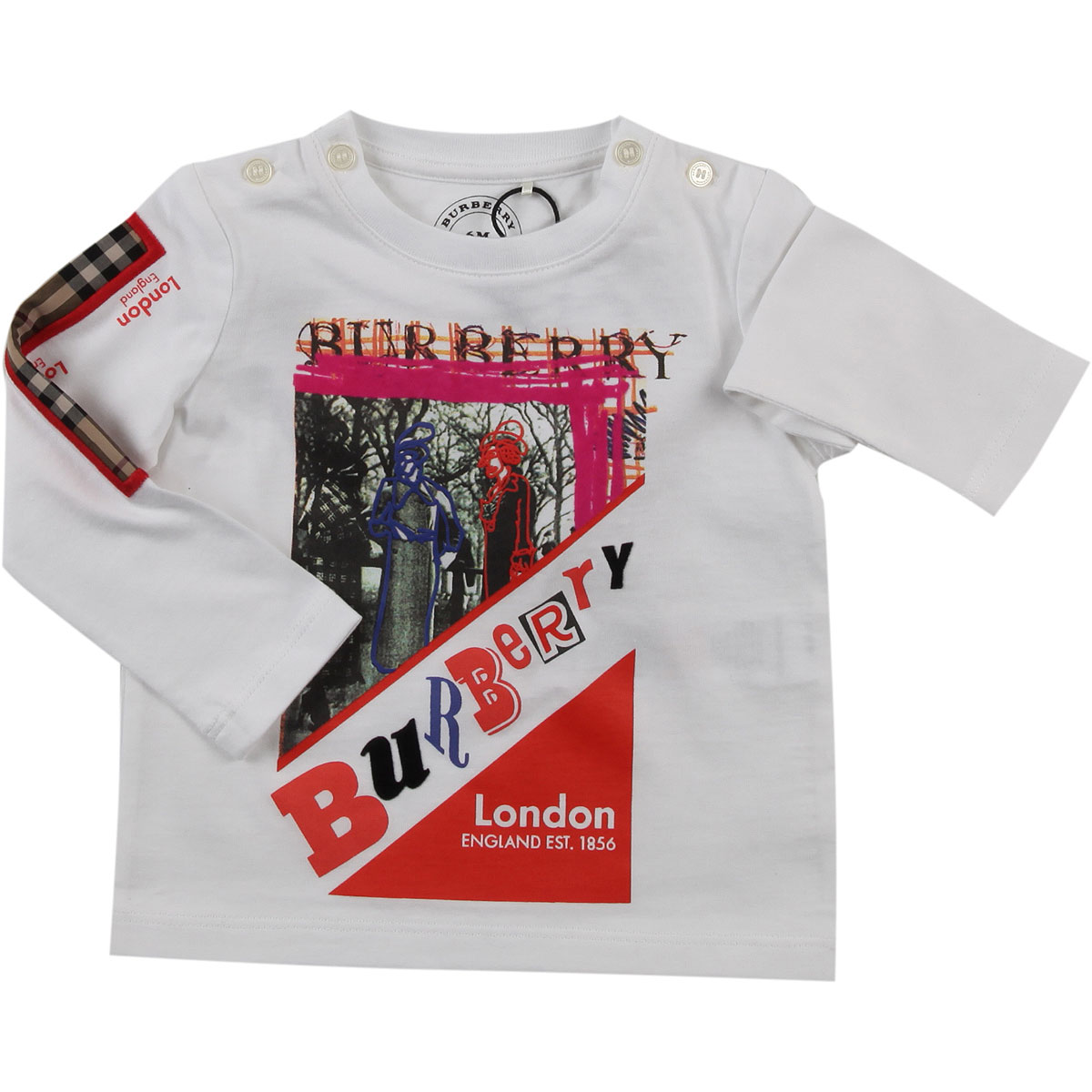 Image of Burberry Baby T-Shirt for Girls, White, Cotton, 2017, 12M 18M 2Y 3Y 6M