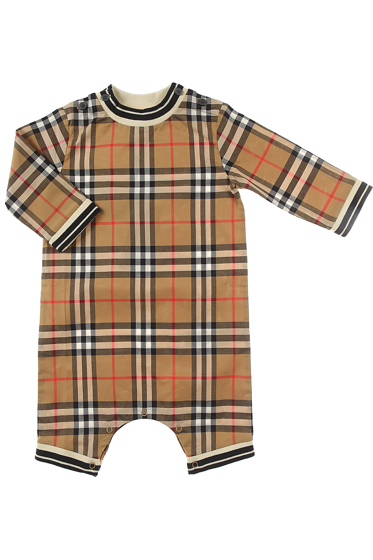 Image of Burberry Baby Bodysuits & Onesies for Girls, Brown, Cotton, 2017, 3M 6M 9M