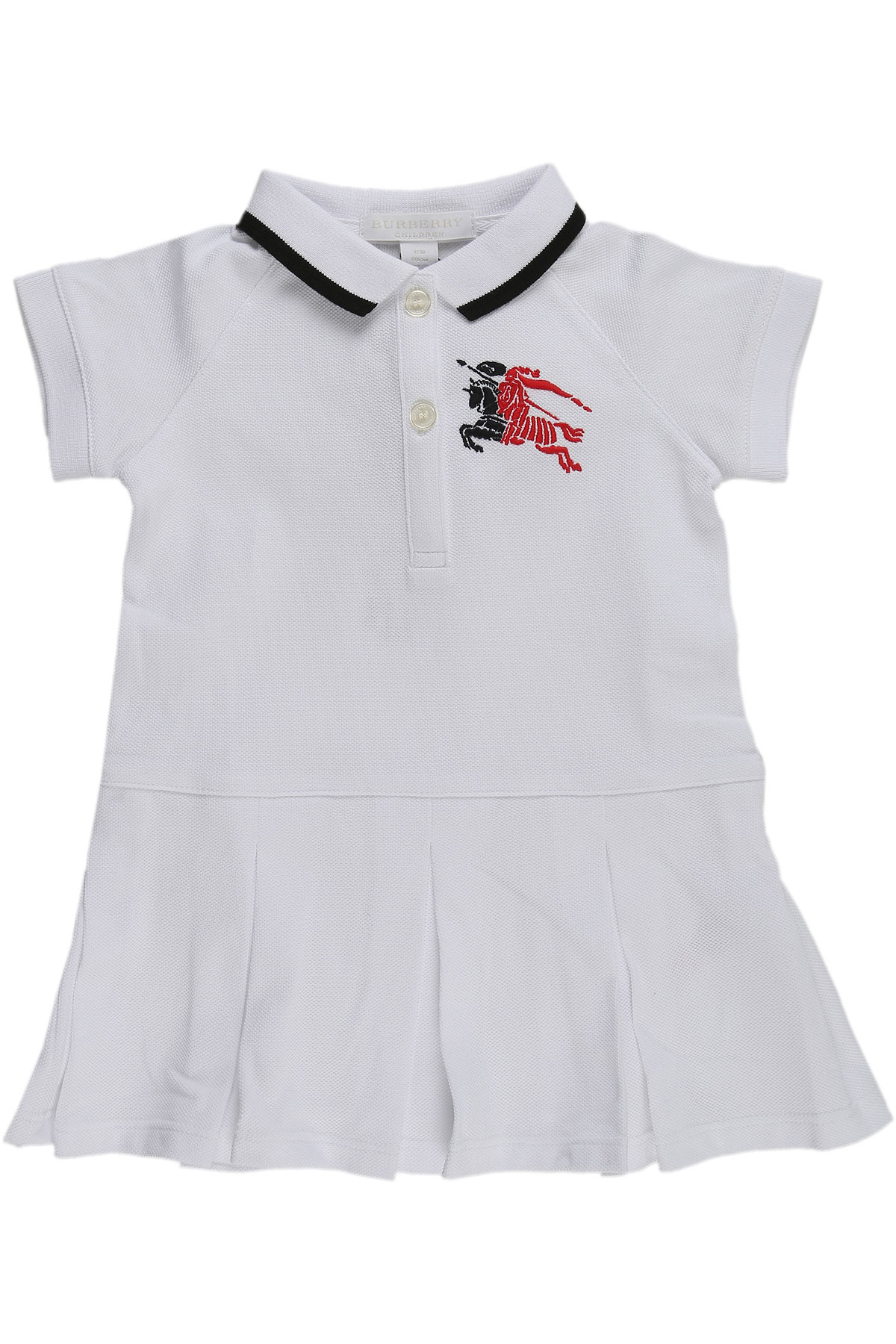 Image of Burberry Baby Dress for Girls, White, Cotton, 2017, 12M 18M 2Y 6M