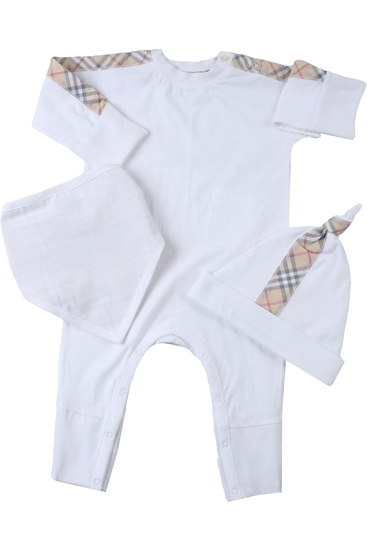 Burberry Baby Bodysuits & Onesies for Girls On Sale, White, Cotton, 2019, 1M 6M