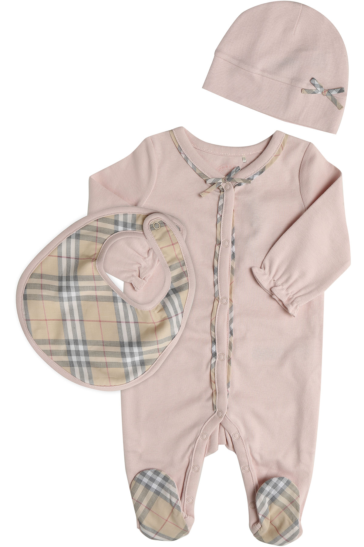 Image of Burberry Baby Bodysuits & Onesies for Girls, Pink, Cotton, 2017, 3M 6M 9M