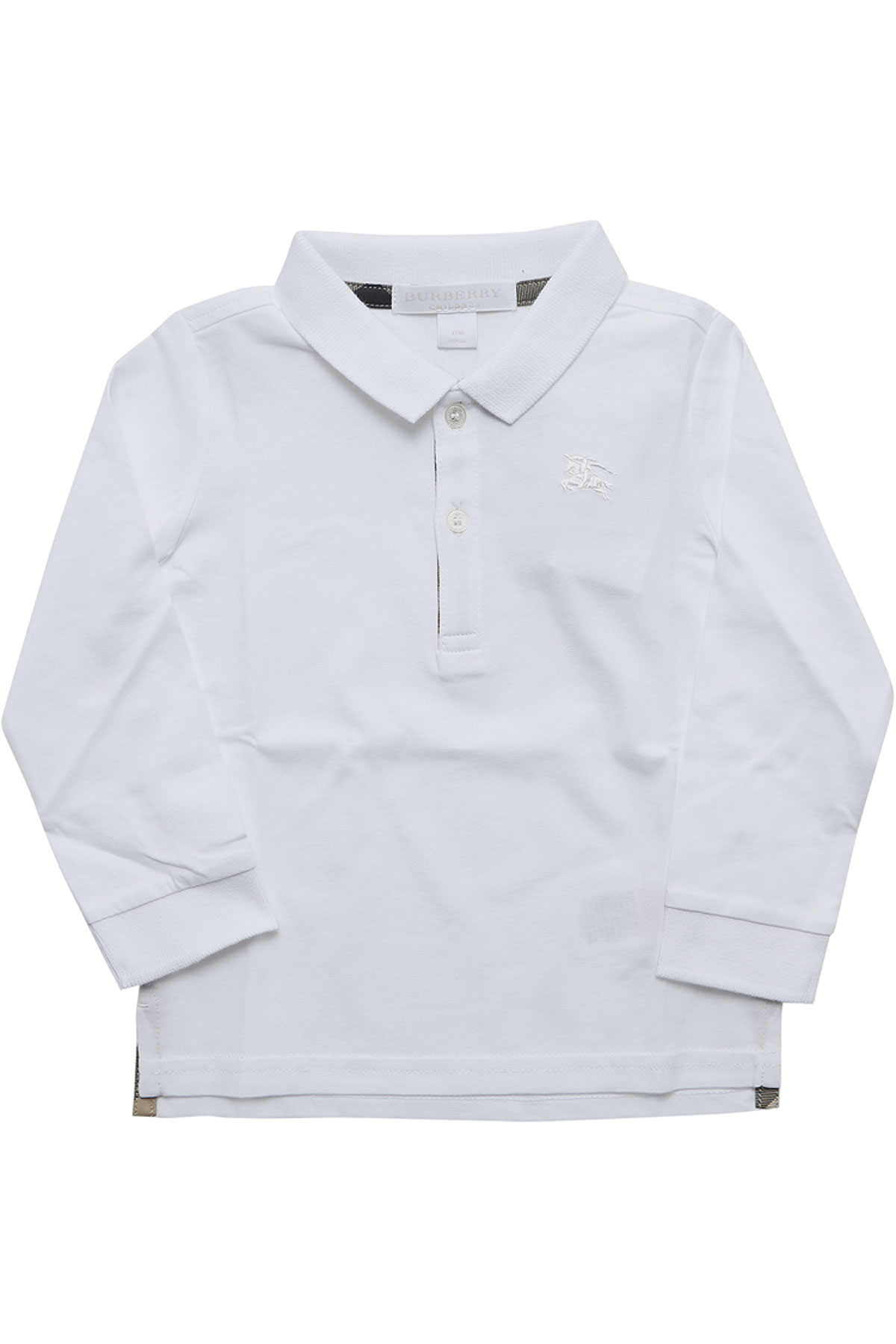 Image of Burberry Baby Polo Shirt for Boys, White, Cotton, 2017, 2Y 3Y