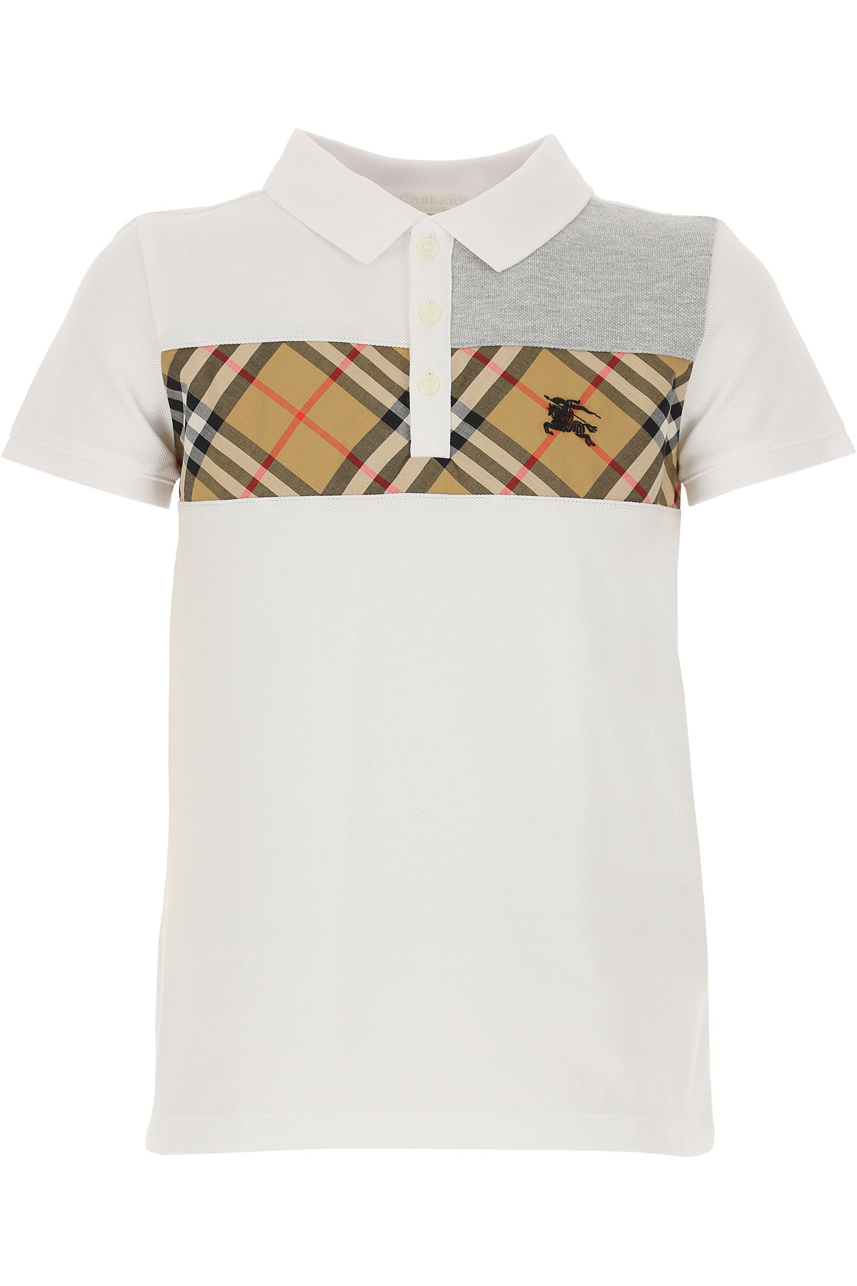 Image of Burberry Kids Polo Shirt for Boys, White, Cotton, 2017, 10Y 14Y 6Y 8Y