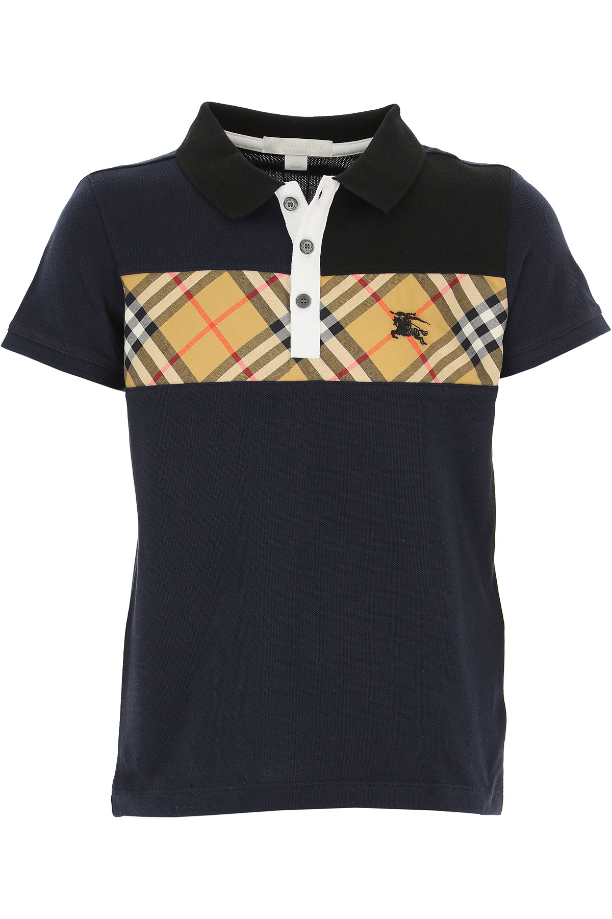 Image of Burberry Kids Polo Shirt for Boys, Blue, Cotton, 2017, 10Y 14Y 4Y 6Y