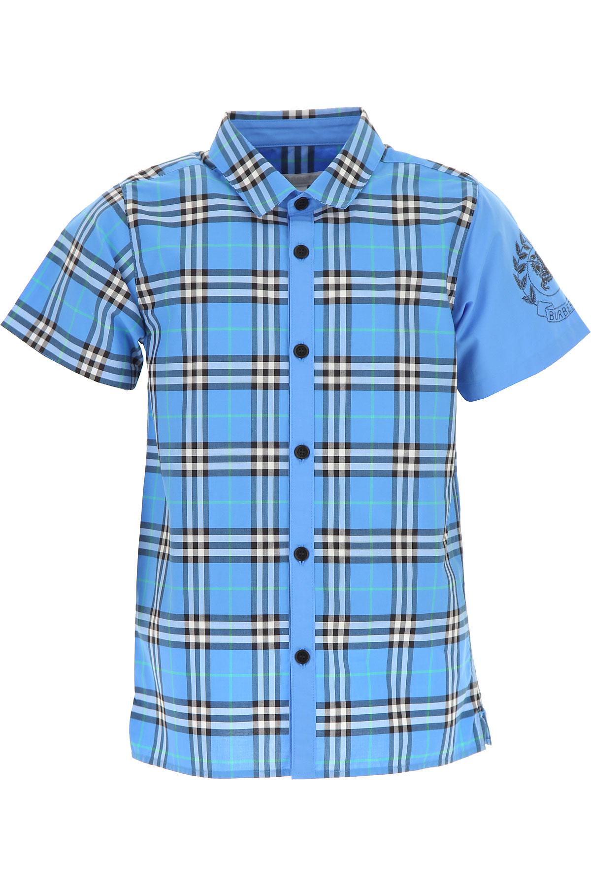 Image of Burberry Kids Shirts for Boys, Azure Blue, Cotton, 2017, 10Y 14Y 4Y 6Y 8Y
