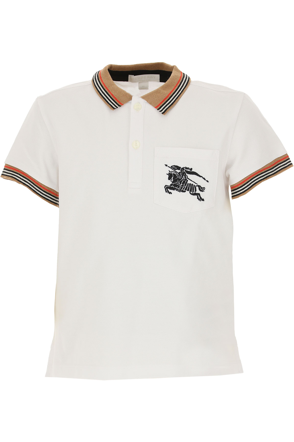Image of Burberry Kids Polo Shirt for Boys, White, Cotton, 2017, 10Y 4Y 5Y 6Y