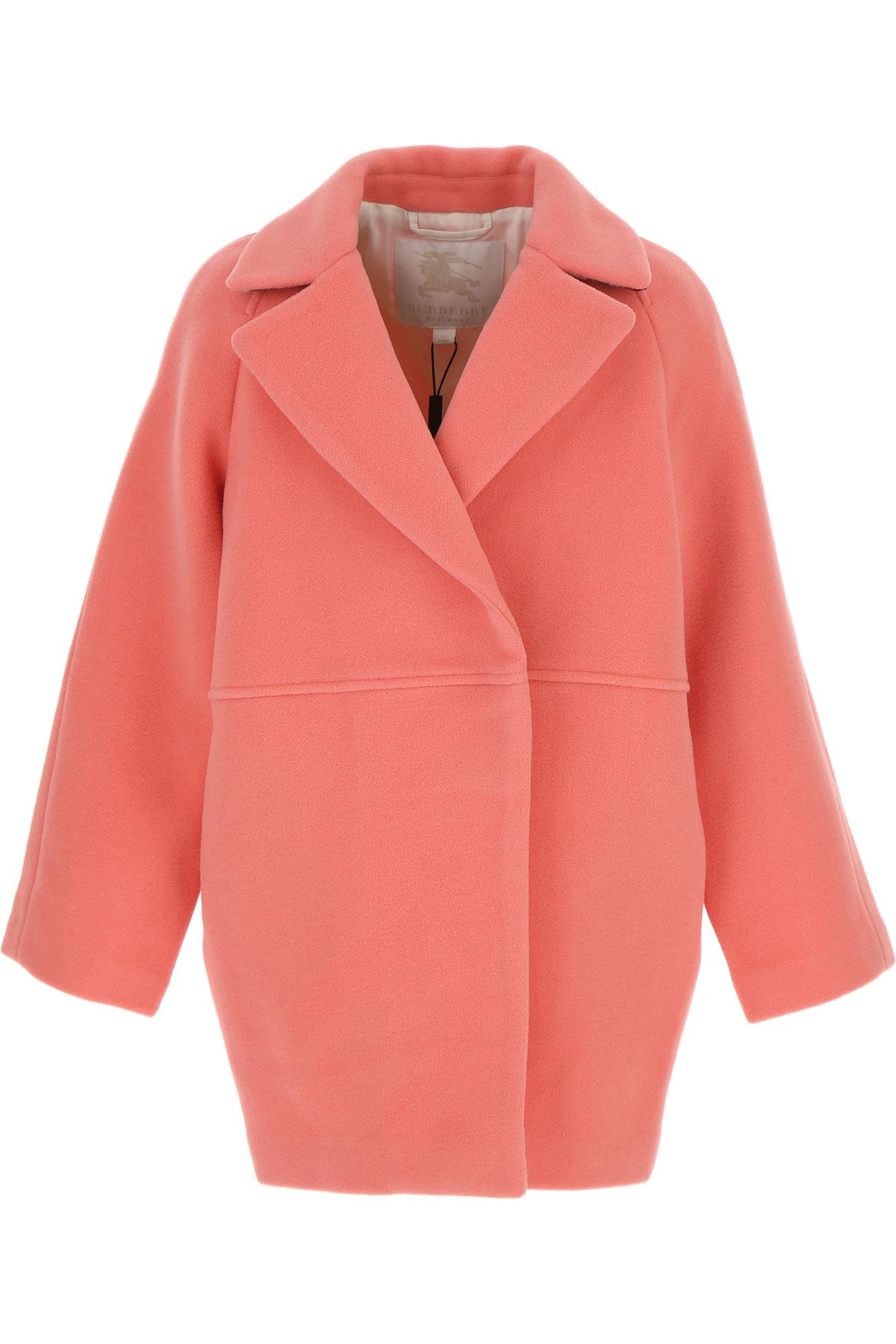 Image of Burberry {DESIGNER} Kids Coat for Girls, Bright Pink, Wool, 2017, 10Y 14Y