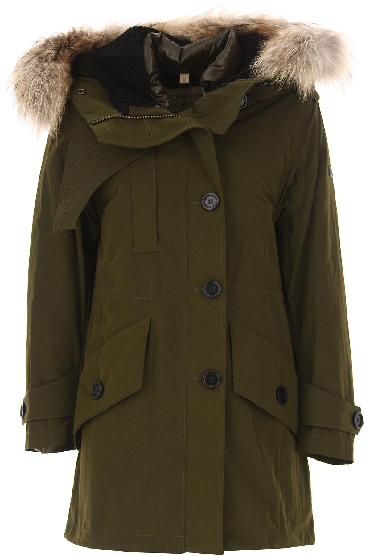 Image of Burberry Down Jacket for Women, Puffer Ski Jacket, Dark Olive Green, polyamide, 2017, 2 4 6 8