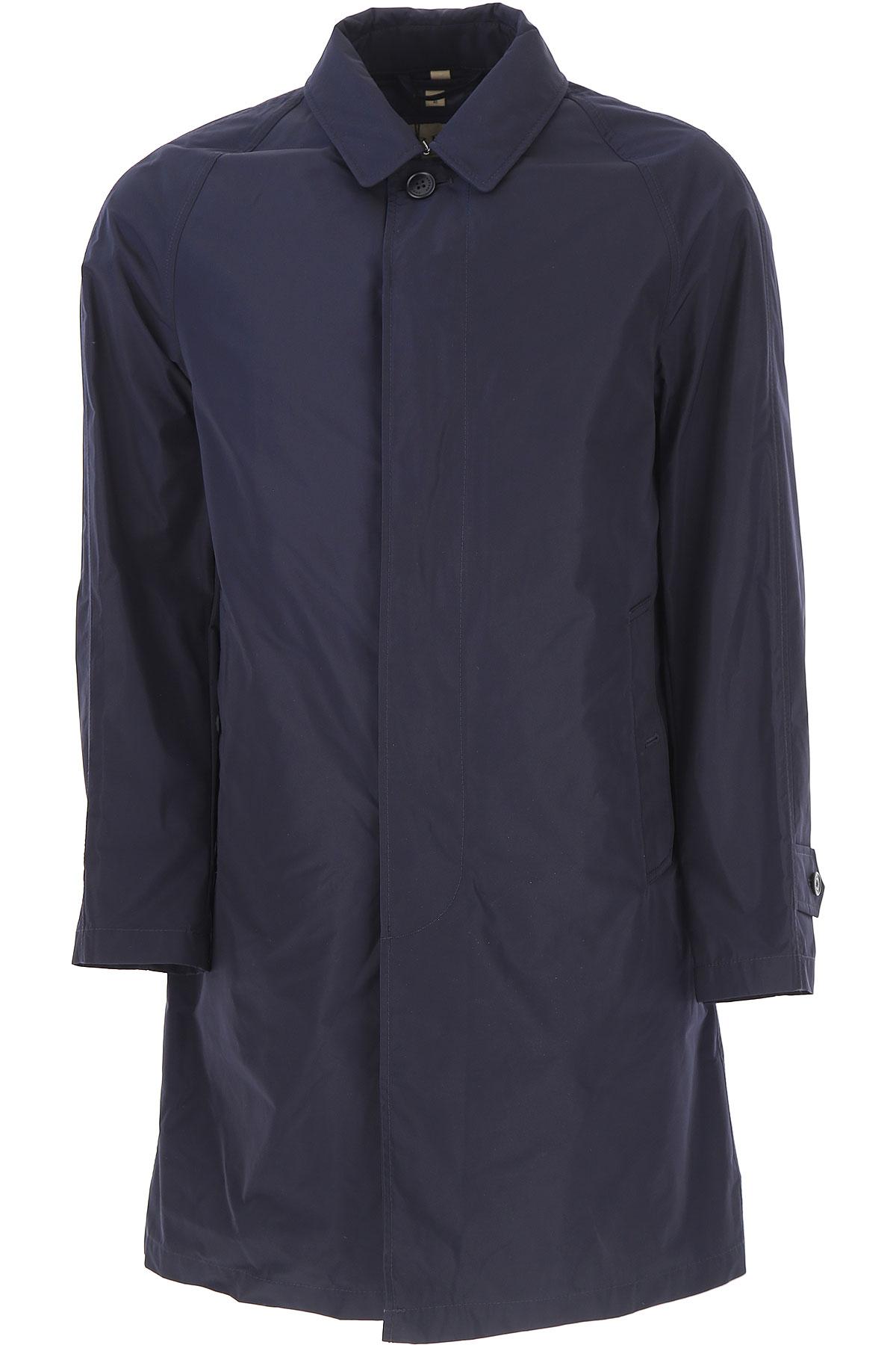 Image of Burberry Men\'s Coat, Blue Navy, polyester, 2017, L M S XL XXL