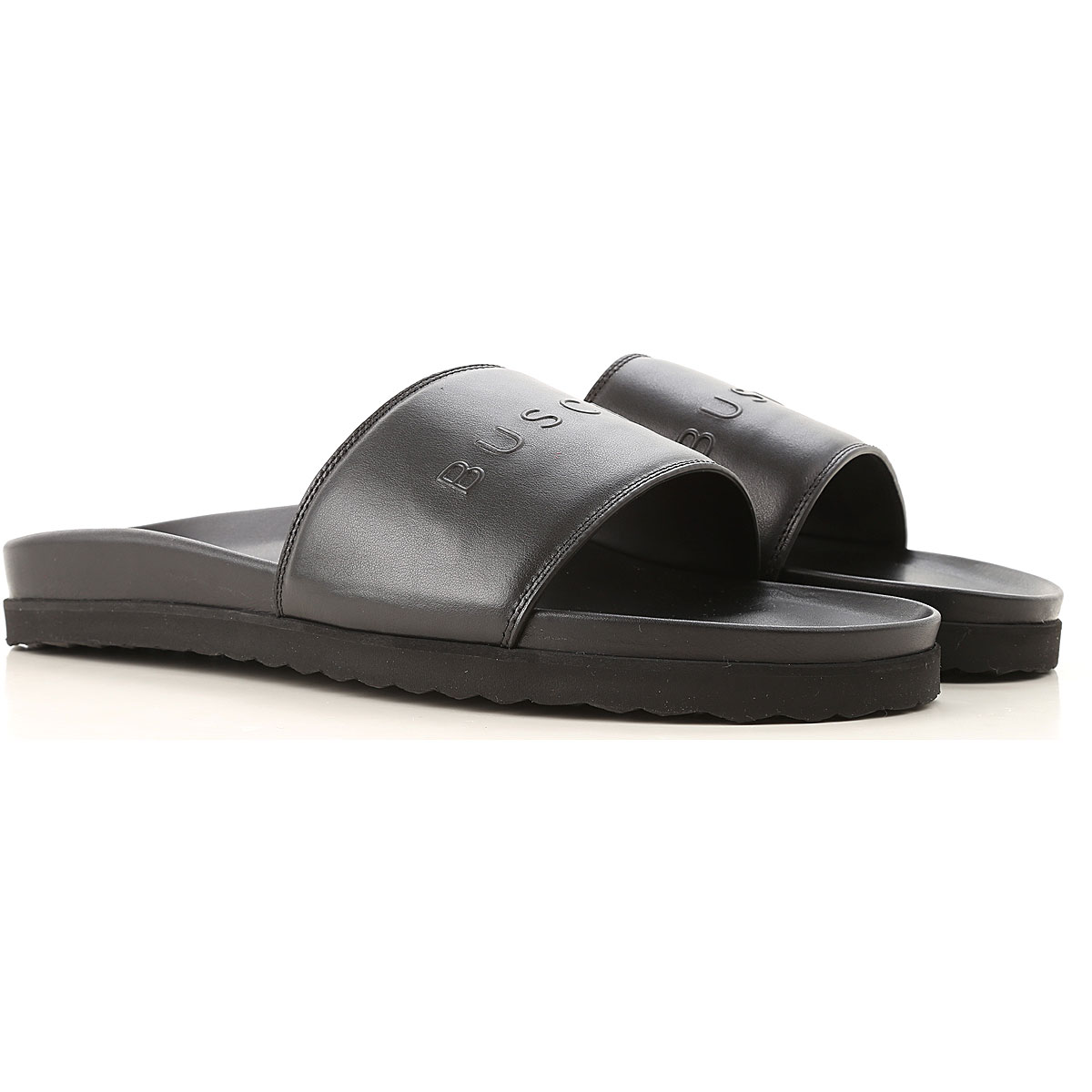 Image of Buscemi Flip Flops for Men, Black, Leather, 2017, 10 10.5 6.5 7.5 8 9