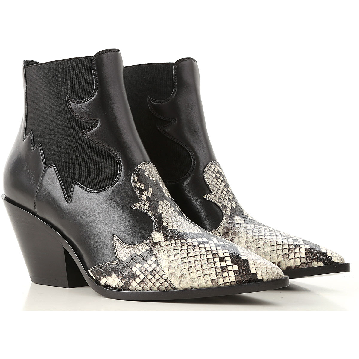 Image of Casadei Boots for Women, Booties, Black, Leather, 2017, 7 8 9.5