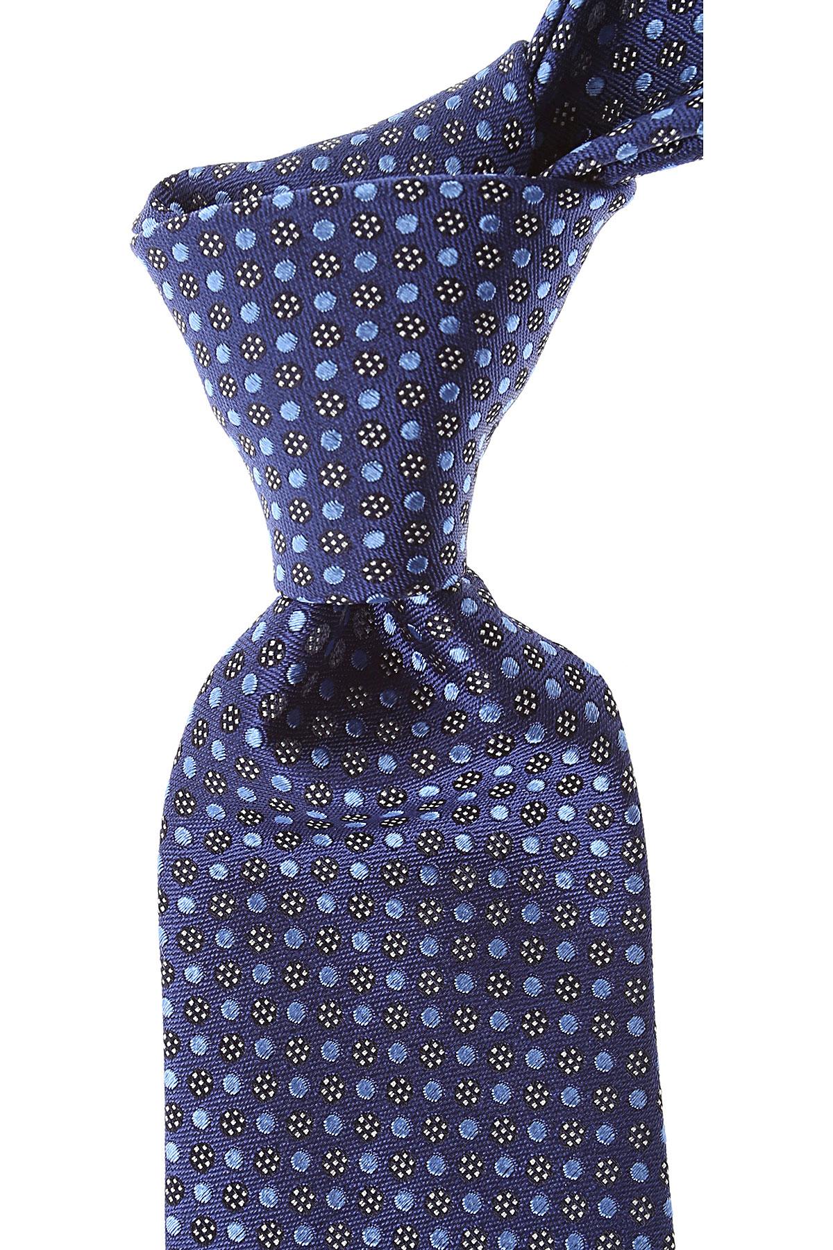 Canali Cravates Pas cher en Soldes, Bleu marine, Soie, 2019