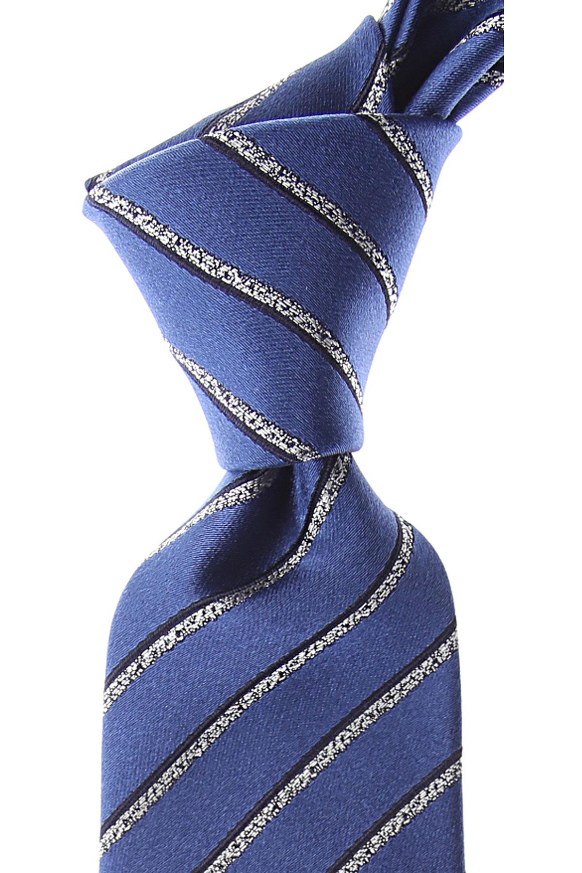 Canali Cravates Pas cher en Soldes, Bleu Royal, Soie, 2019