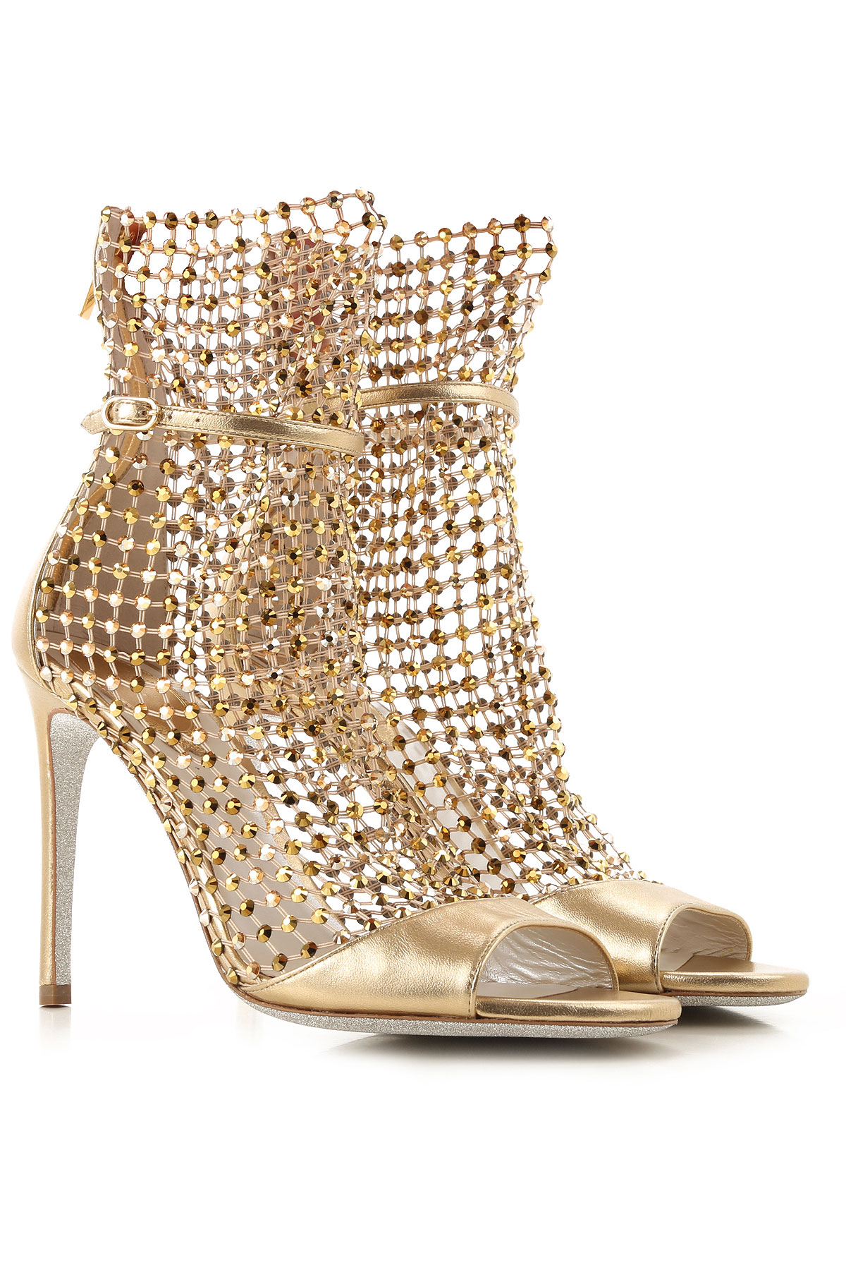 Rene Caovilla Sandals for Women On Sale, Gold, Leather, 2019, 6.5 7 8.5 9