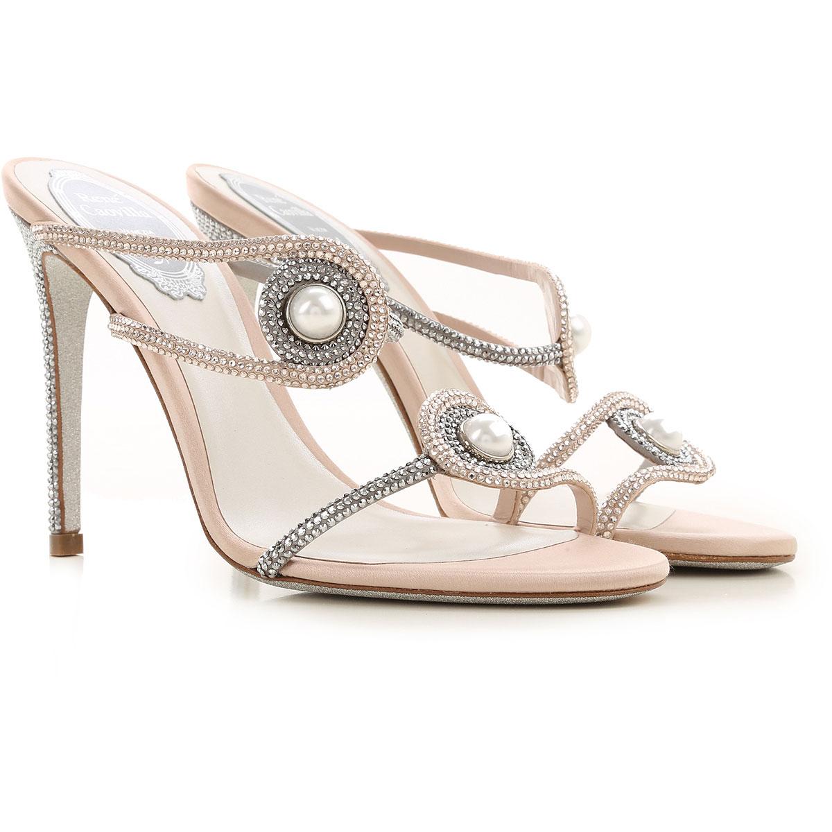 Rene Caovilla Sandals for Women On Sale, Powder Rose, satin, 2019, 10 7 8 8.5 9