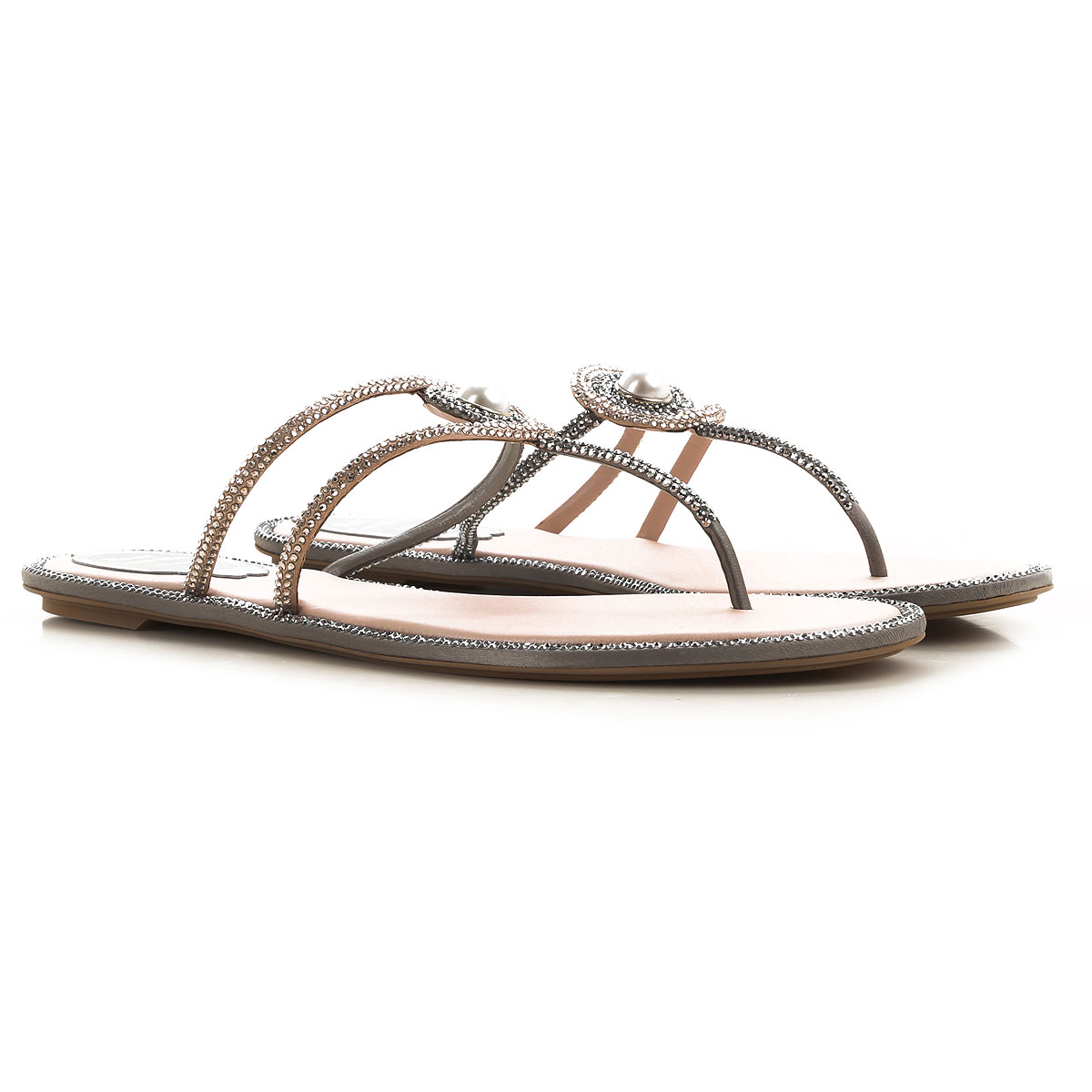 Rene Caovilla Sandals for Women On Sale, Grey Light, Leather, 2019, 6 6.5 8 9
