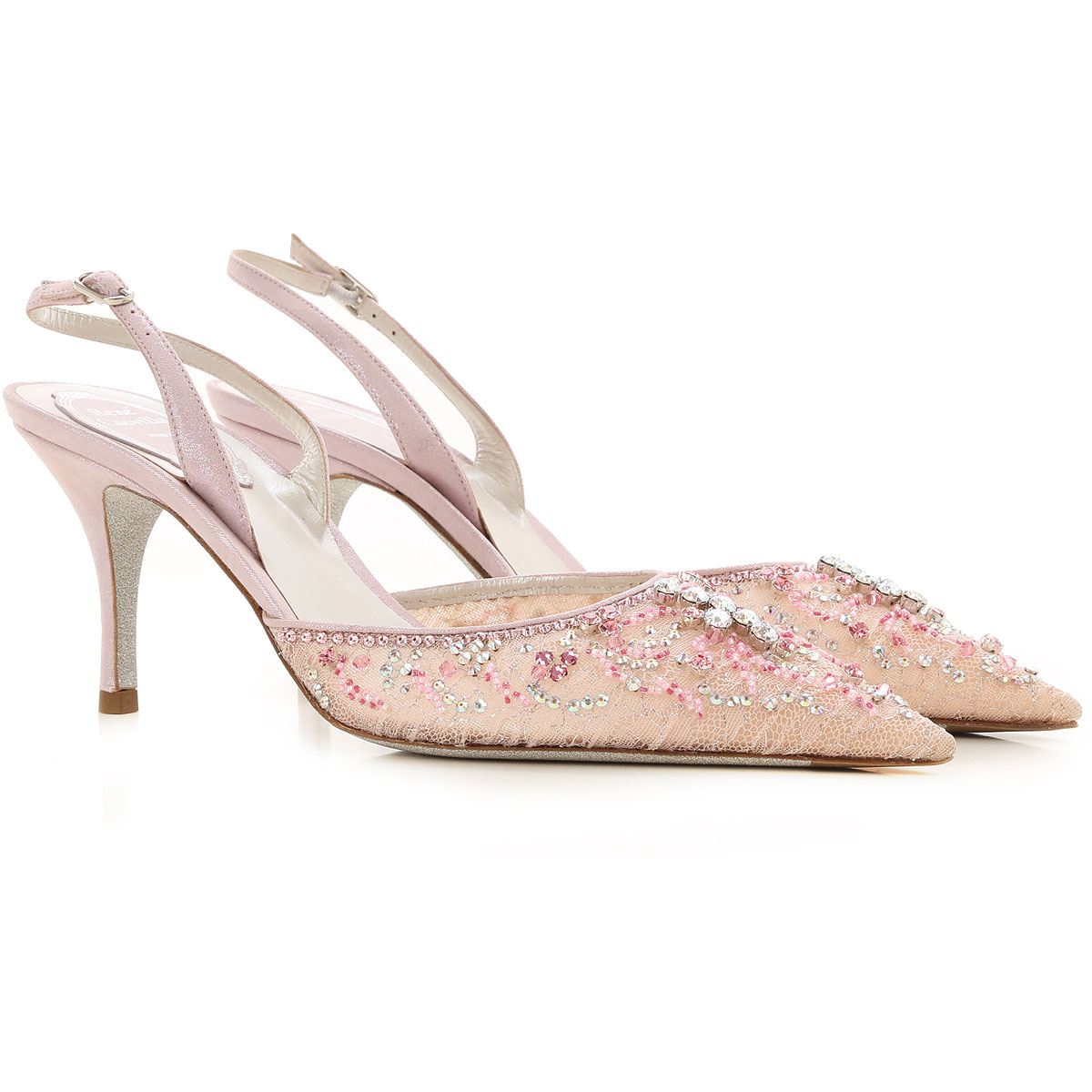 Rene Caovilla Sandals for Women On Sale, Pink Lace, Leather, 2019, 10 6.5 9