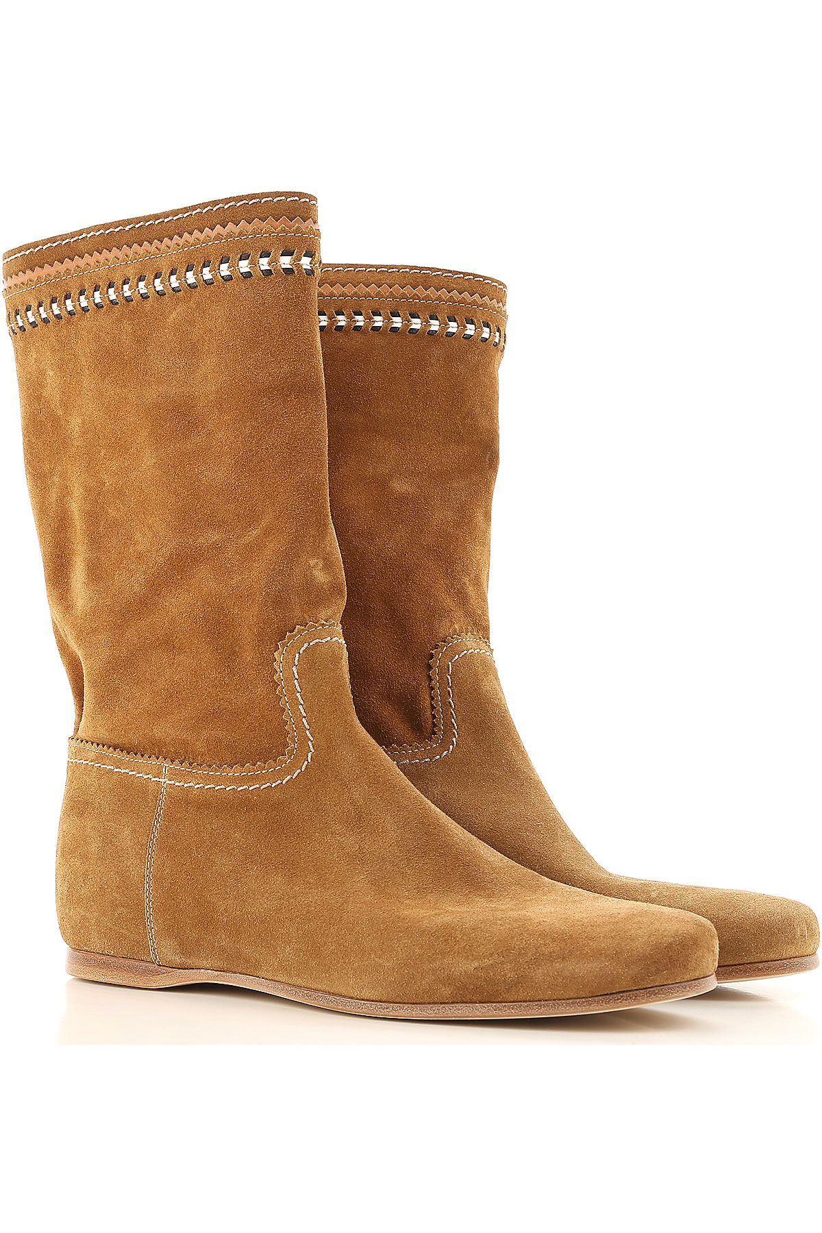 Image of Car Shoe Boots for Women, Booties On Sale in Outlet, Caramel, Suede leather, 2017, 8