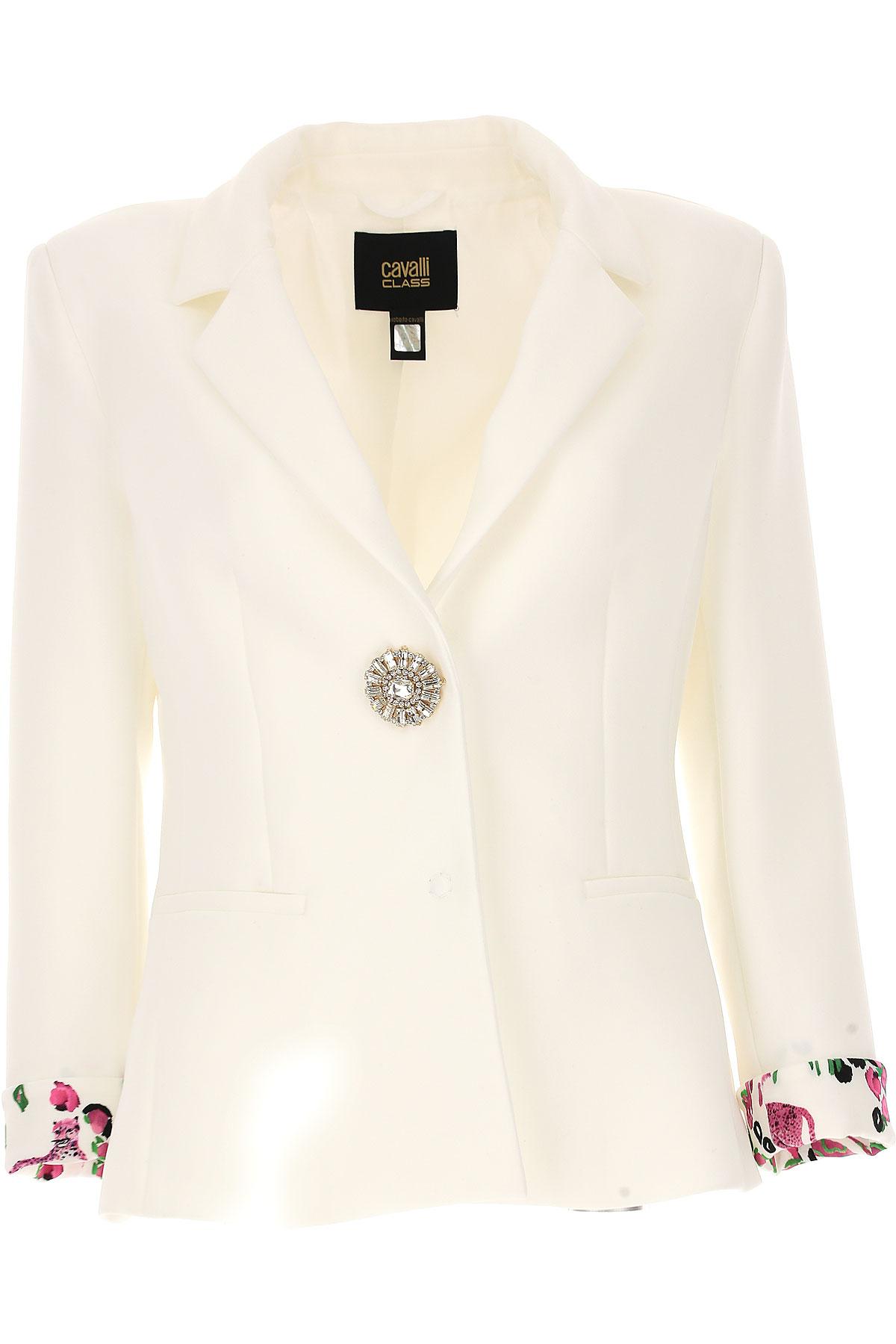 Image of Roberto Cavalli Blazer for Women On Sale, White, polyester, 2017, 10 4 6