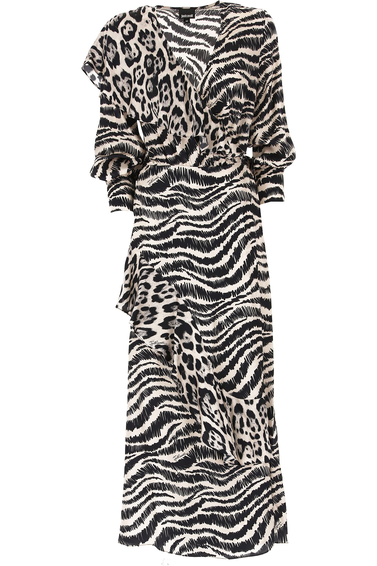 Roberto Cavalli Dress for Women, Evening Cocktail Party On Sale, Dirty White, Viscose, 2019, 4 6 8