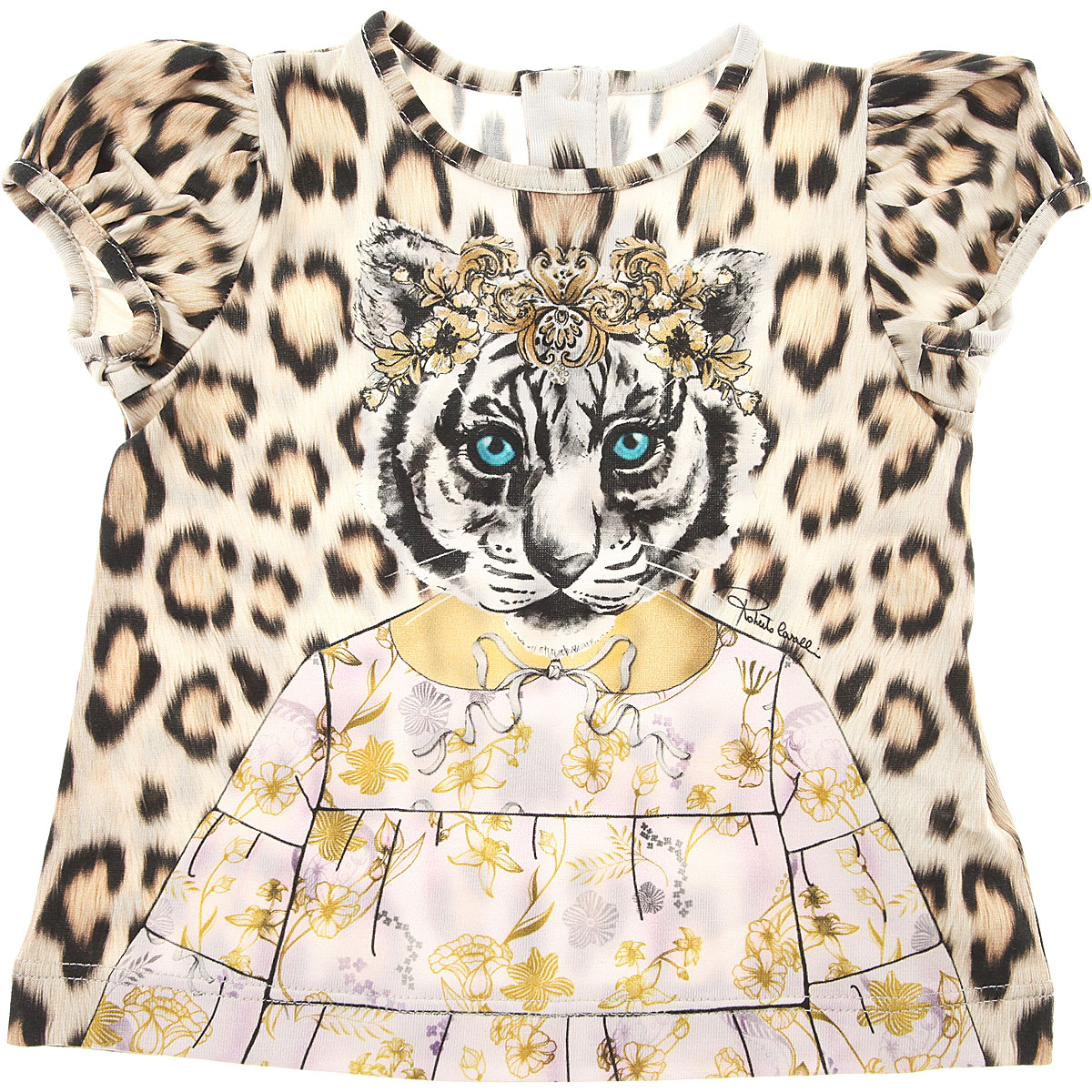 Image of Roberto Cavalli Baby T-Shirt for Girls, Animalier, Cotton, 2017, 12M 18M 2Y 3Y 6M
