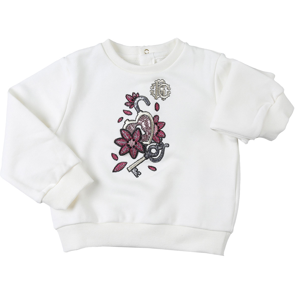 Roberto Cavalli Baby Sweatshirts & Hoodies for Girls On Sale, Cream, Cotton, 2019, 12M 18M 2Y 3Y