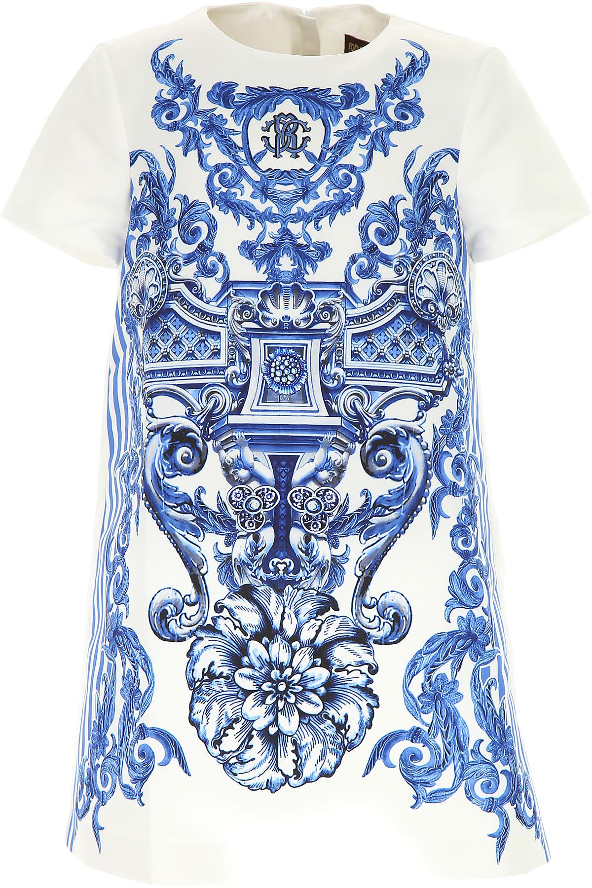 Roberto Cavalli Girls Dress On Sale, White, polyester, 2017, 10Y 6Y USA-444870