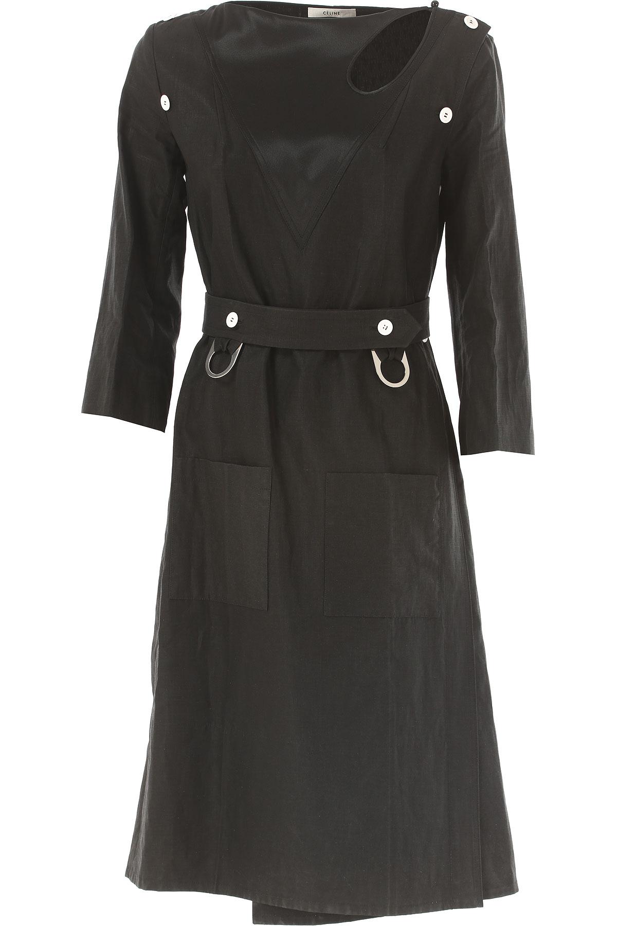 Celine Dress for Women, Evening Cocktail Party On Sale in Outlet, Black, Washed Linen, 2019, 4 6