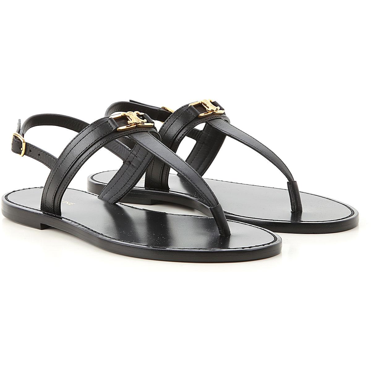 Celine Sandals for Women On Sale, Black, Leather, 2019, 10 6.5 8