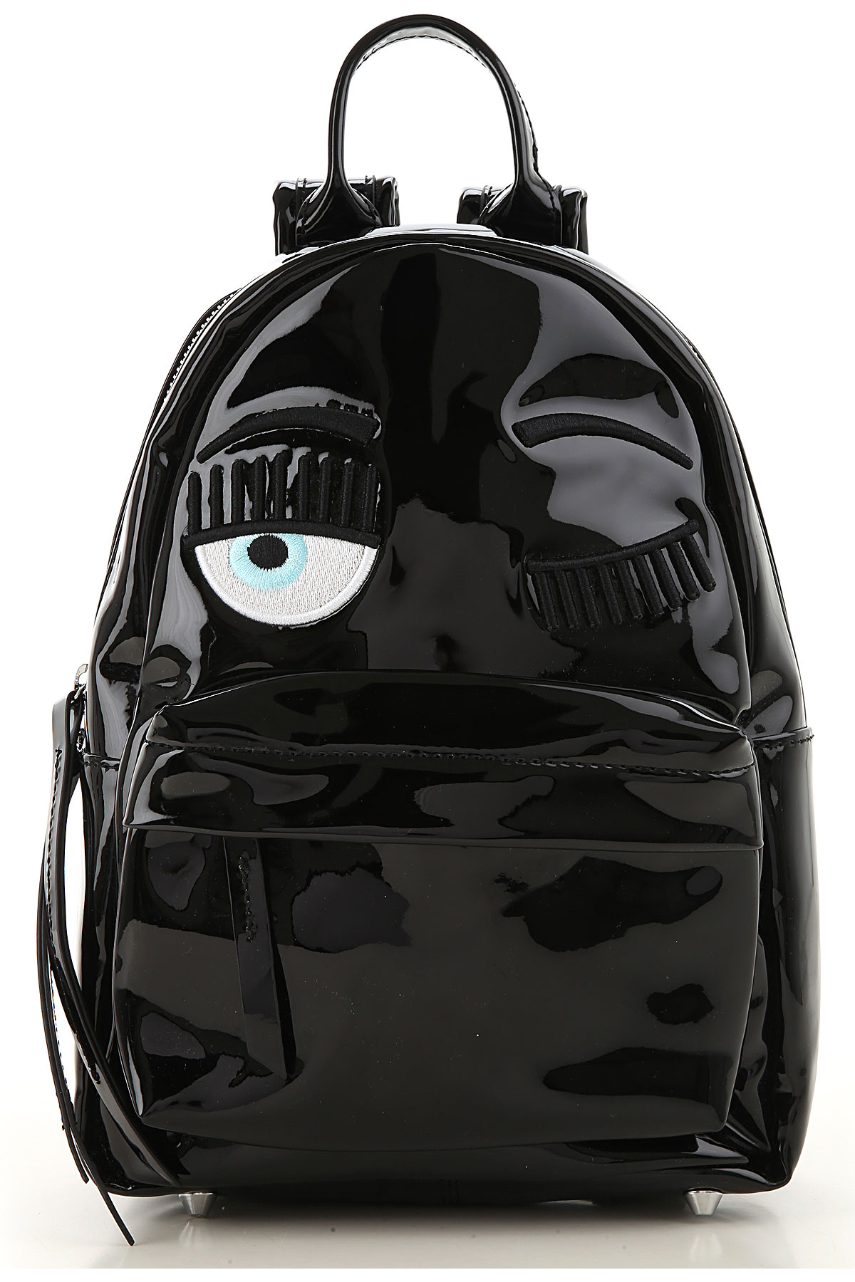 Chiara Ferragni Backpack for Women, Black, Patent Leather, 2019