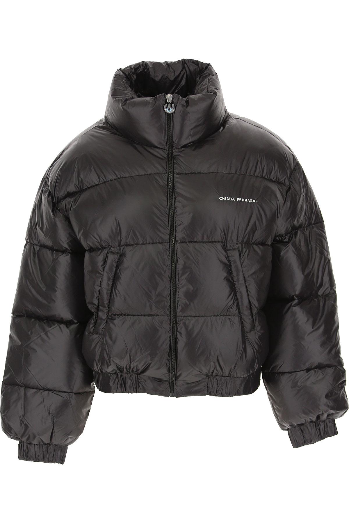 Chiara Ferragni Down Jacket for Women, Puffer Ski Jacket On Sale, Black, Down, 2019, 2 4