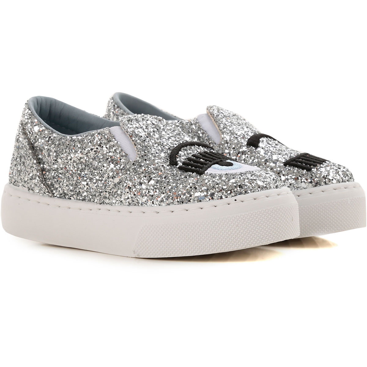 Image of Chiara Ferragni Kids Shoes for Girls, Silver, Leather, 2017, 28 29 30 31 32 33 34 35 36