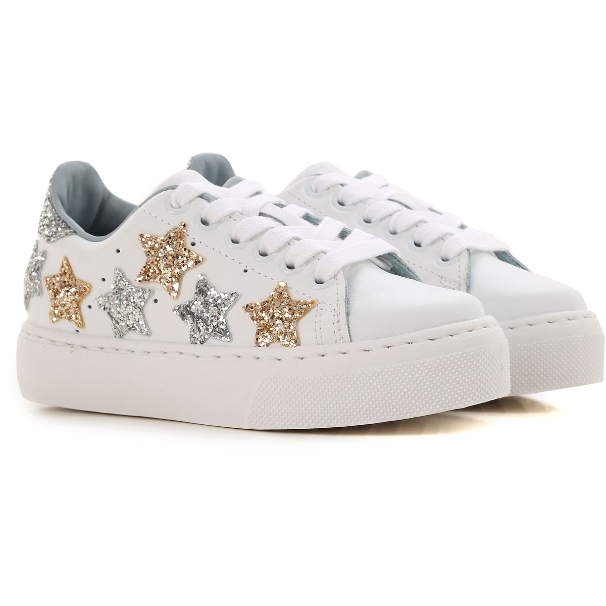 Image of Chiara Ferragni Kids Shoes for Girls, White, Leather, 2017, 28 29 30 31 32 33 34 35 36