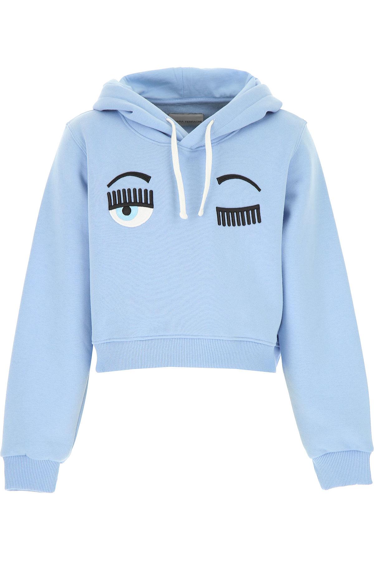 Chiara Ferragni Kids Sweatshirts & Hoodies for Girls On Sale, Skyblue, Cotton, 2019, 12Y 12Y 14Y 6Y 8Y 8Y