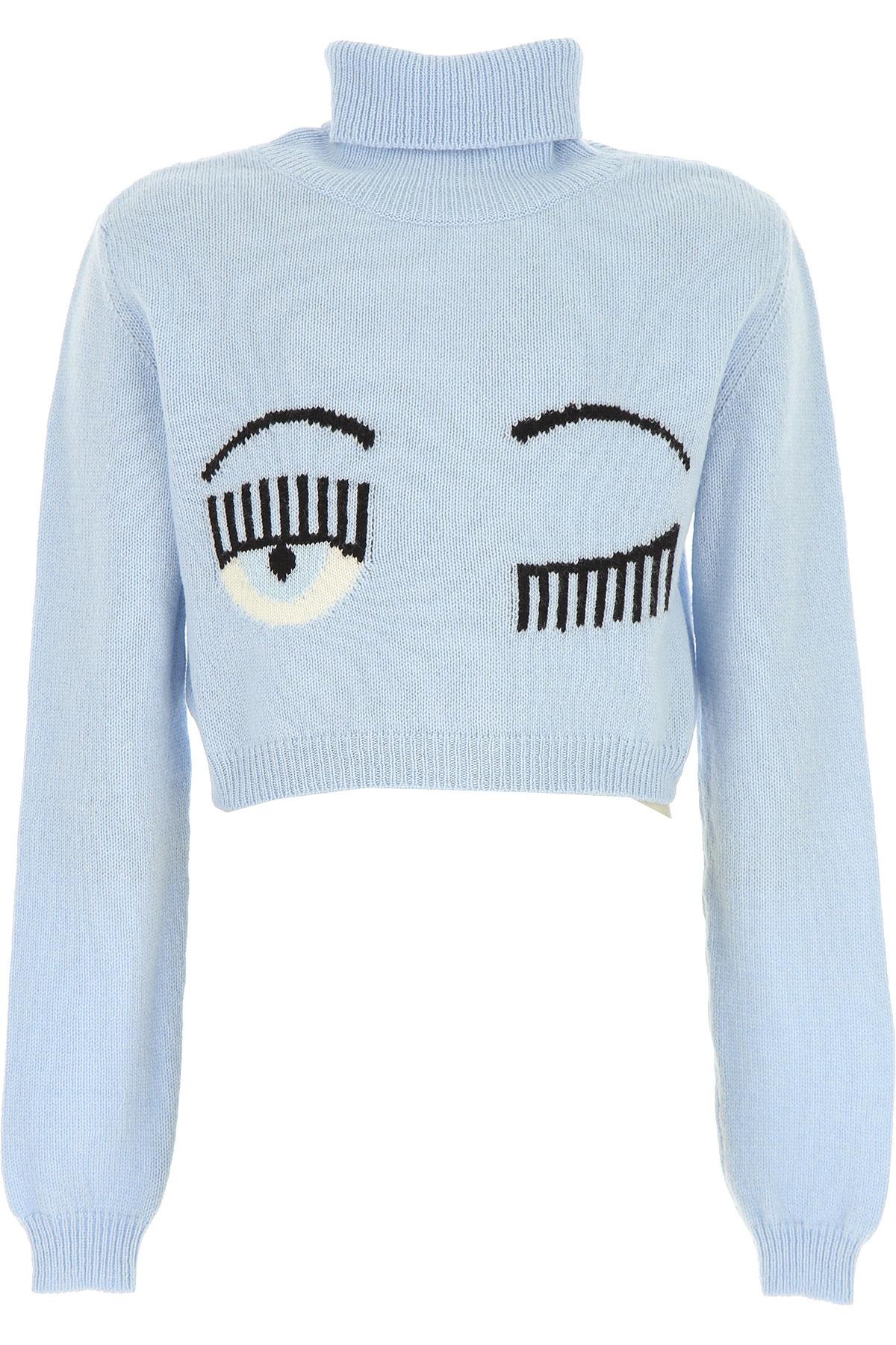 Chiara Ferragni Kids Sweaters for Girls On Sale, Skyblue, Wool, 2019, 10Y 12Y