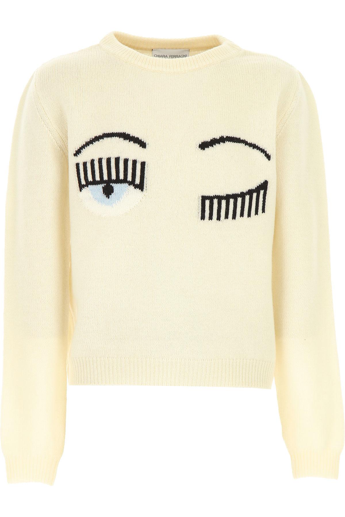 Chiara Ferragni Kids Sweaters for Girls On Sale, White, Wool, 2019, 10Y 12Y 14Y 6Y 8Y