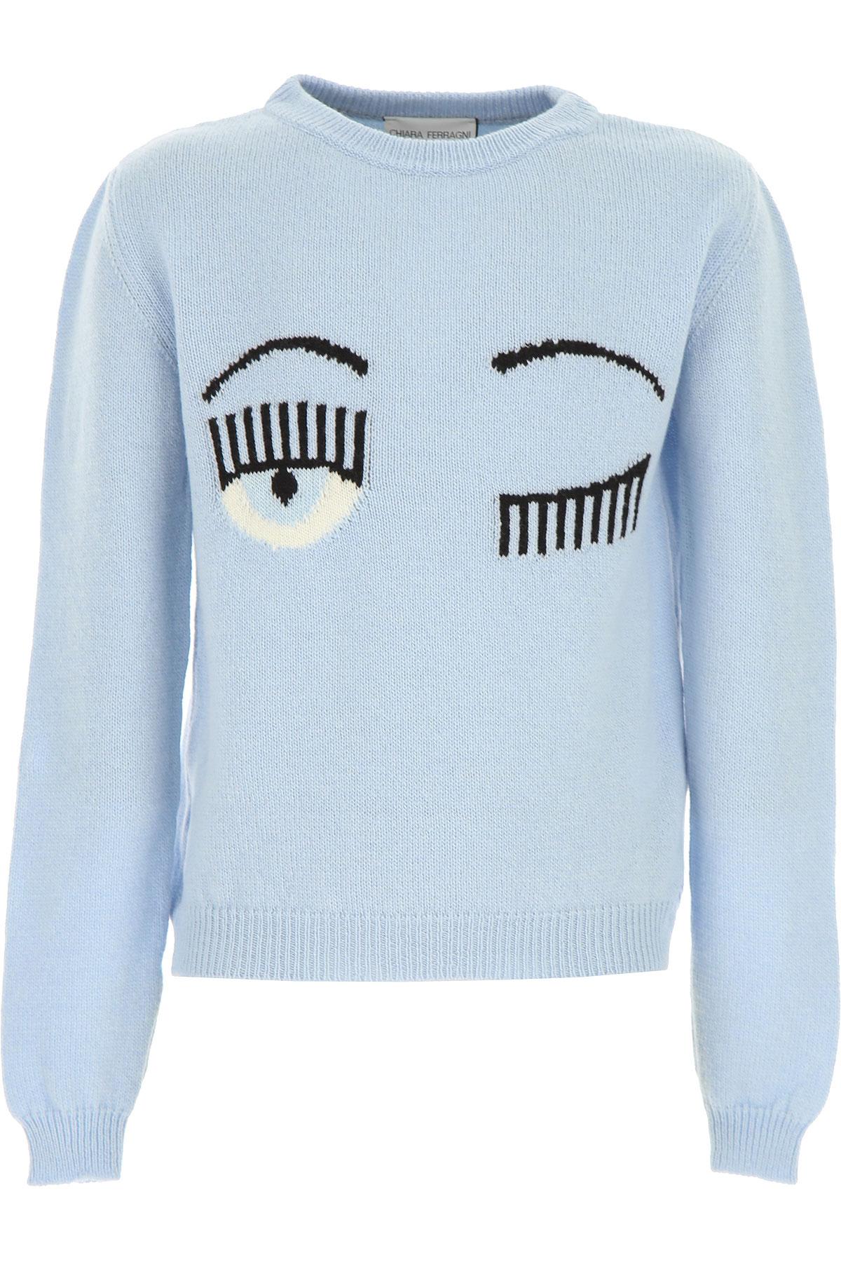 Chiara Ferragni Kids Sweaters for Girls On Sale, Skyblue, Wool, 2019, 10Y 12Y 14Y 8Y