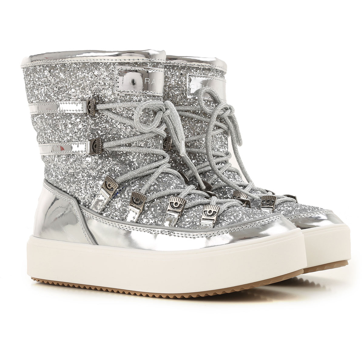 Chiara Ferragni Boots for Women, Booties, Silver, Leather, 2019, 6 7 8