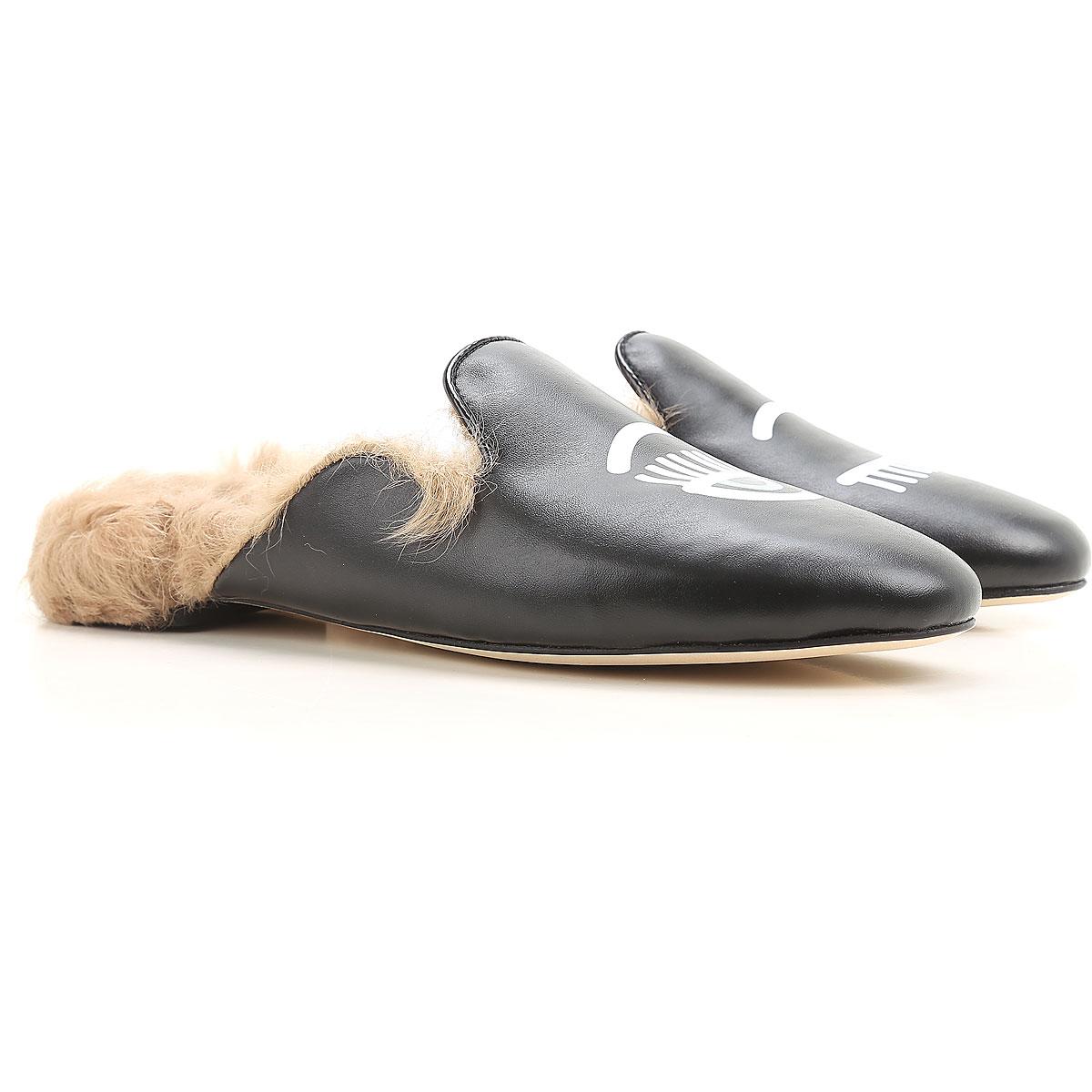Chiara Ferragni Sandals for Women On Sale in Outlet, Black, Leather, 2019, 5 6 7