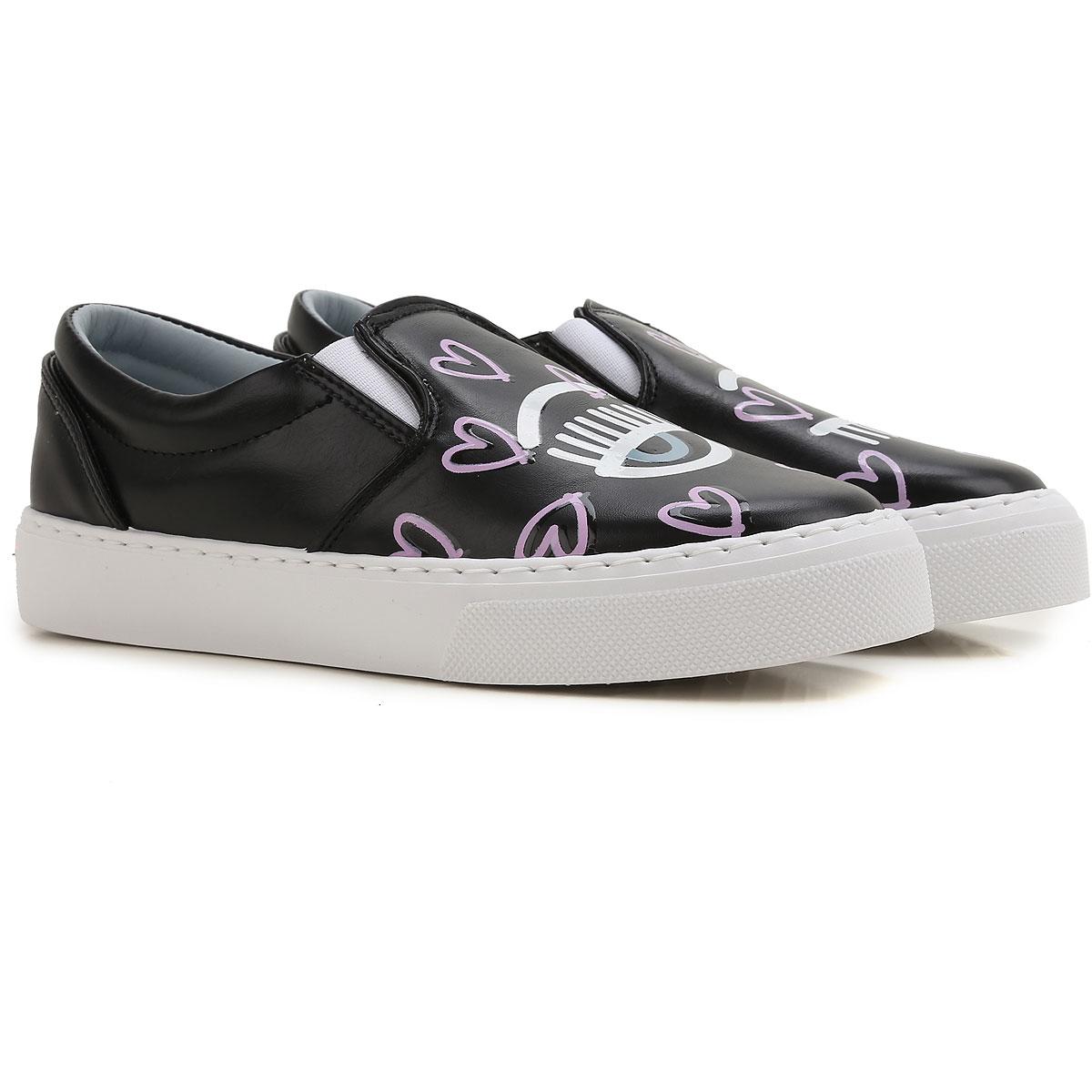 Chiara Ferragni Slip on Sneakers for Women On Sale, Black, Leather, 2019, 7 8
