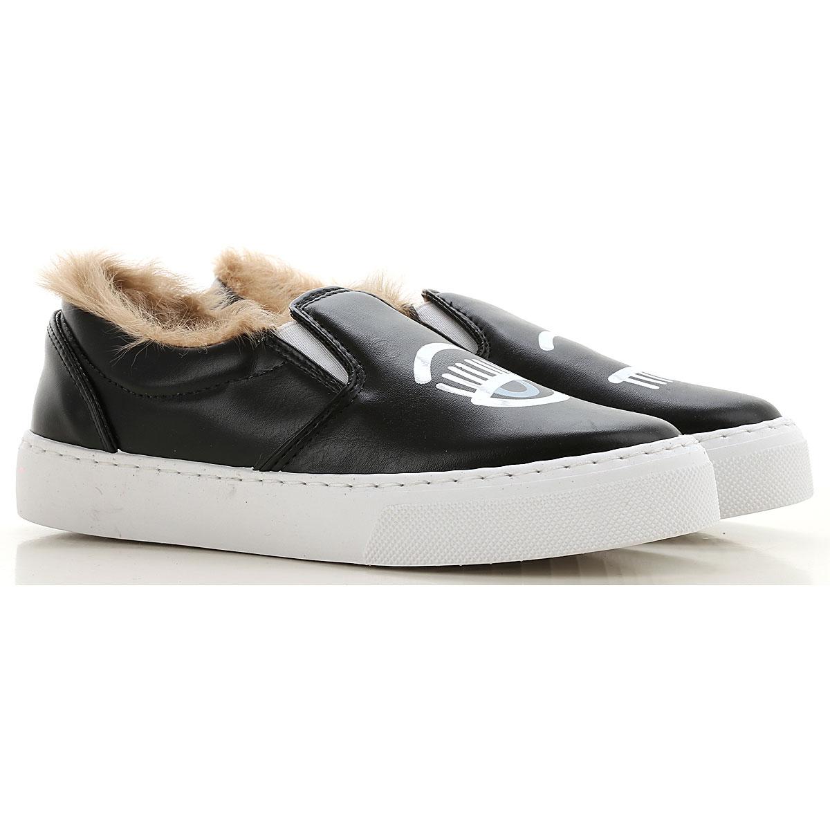 Chiara Ferragni Slip on Sneakers for Women On Sale in Outlet, Black, Leather, 2019, 6 7
