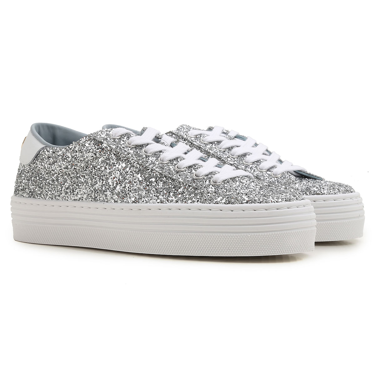 Chiara Ferragni Sneakers for Women On Sale in Outlet, Silver, Glitter, 2019, 5 6 7 8 9