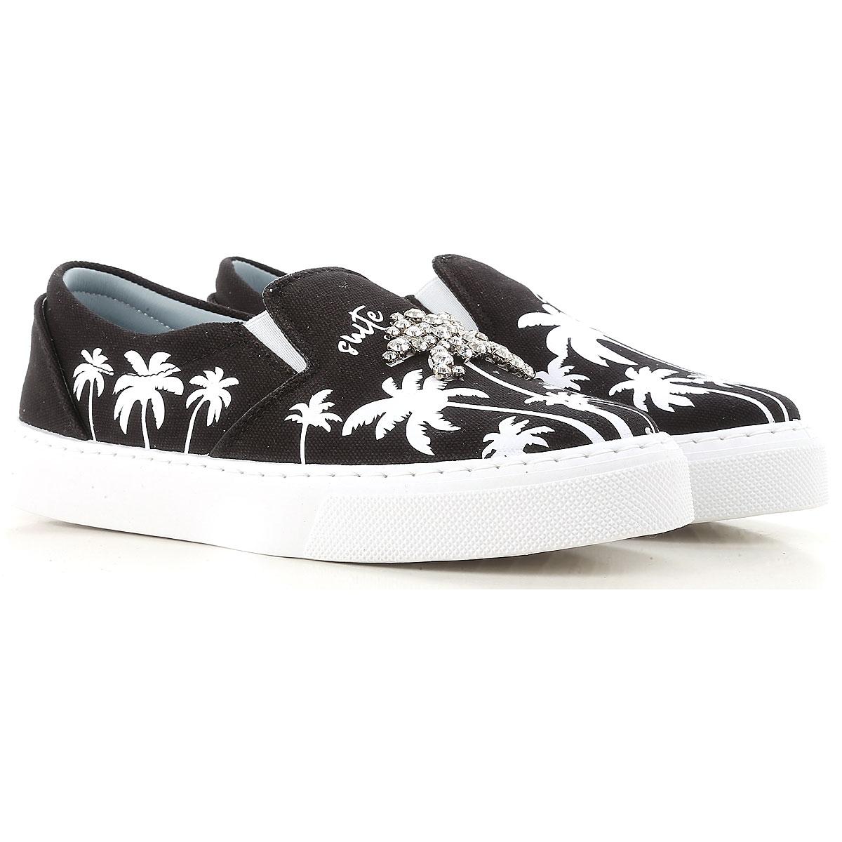 Chiara Ferragni Slip on Sneakers for Women On Sale in Outlet, Black, Canvas, 2019, 10 6 7 8 9