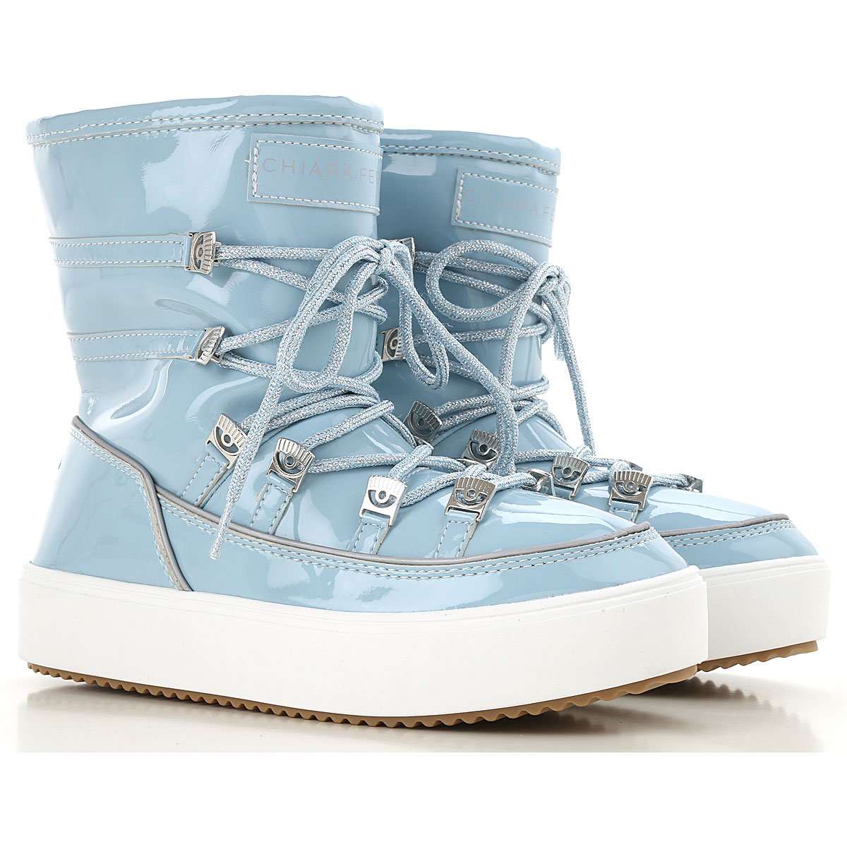 Image of Chiara Ferragni Boots for Women, Booties, Light Blue, Patent Leather, 2017, 10 5 6 7 8