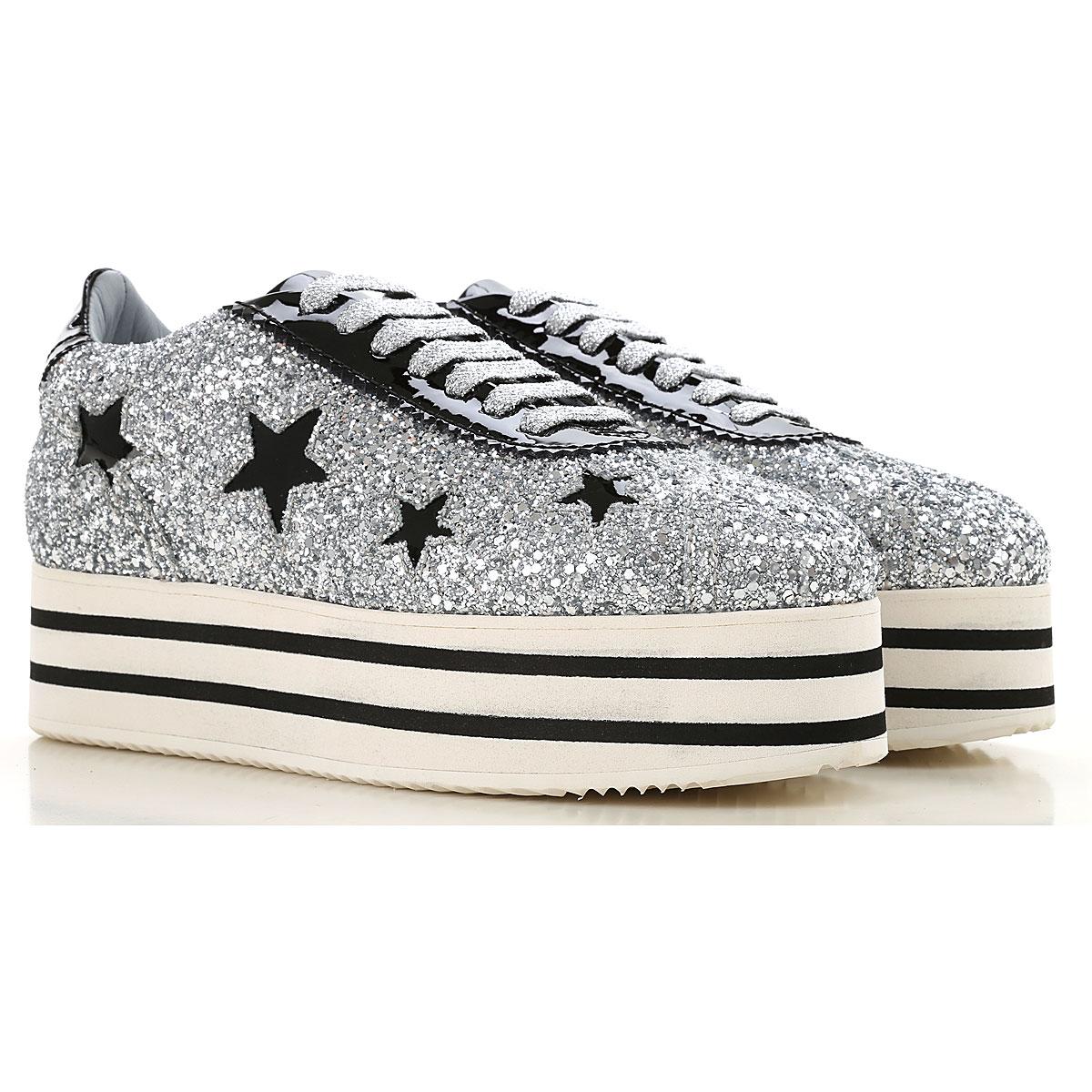 Chiara Ferragni Sneakers for Women On Sale in Outlet, Silver, Glittered Leather, 2019, 6 9