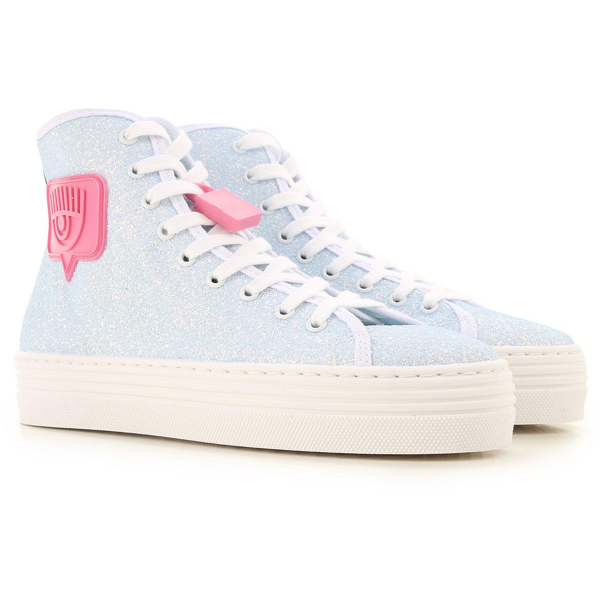 Chiara Ferragni Sneakers for Women On Sale, Light Blue, Glitter Fabric, 2019, 10 6 7 8 9