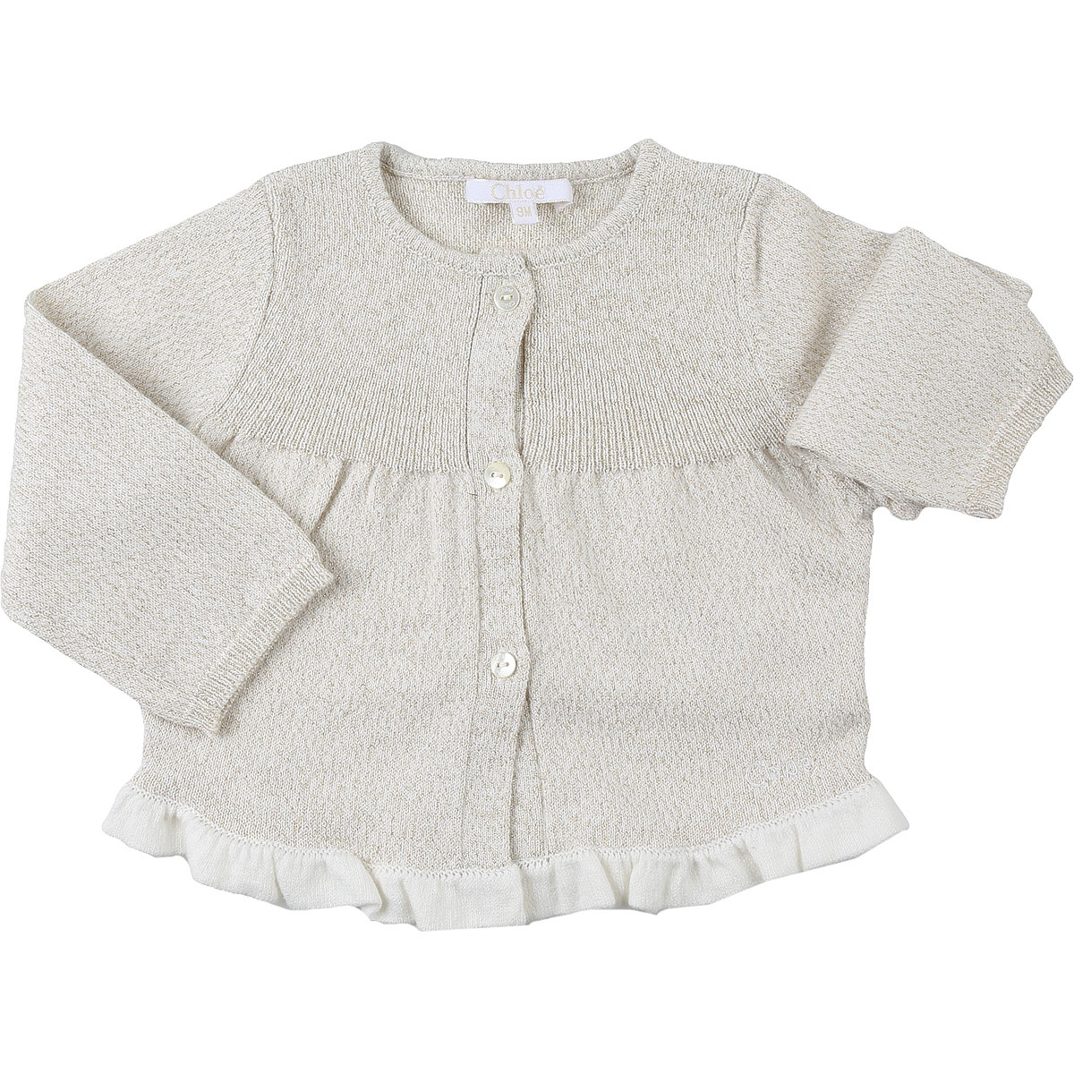 Chloe Baby Sweaters for Girls On Sale, Gold Lurex, Cotton, 2019, 12M 2Y 3Y 6M 9M