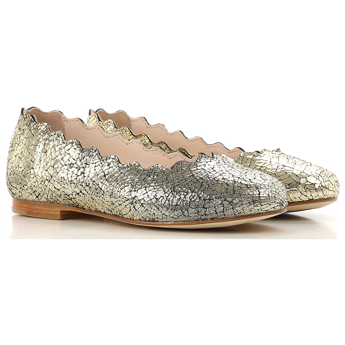 Image of Chloe Kids Shoes for Girls, Gold, Leather, 2017, 25 26 27 28 29 30 31 33 34 35