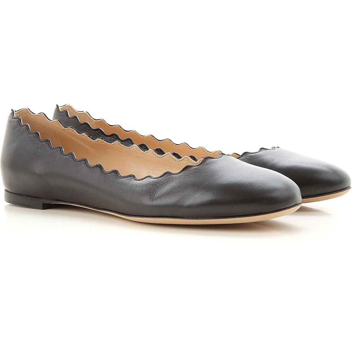 Chloe Ballet Flats Ballerina Shoes for Women On Sale, Black, Leather, 2019, 5.5 6 6.5 7
