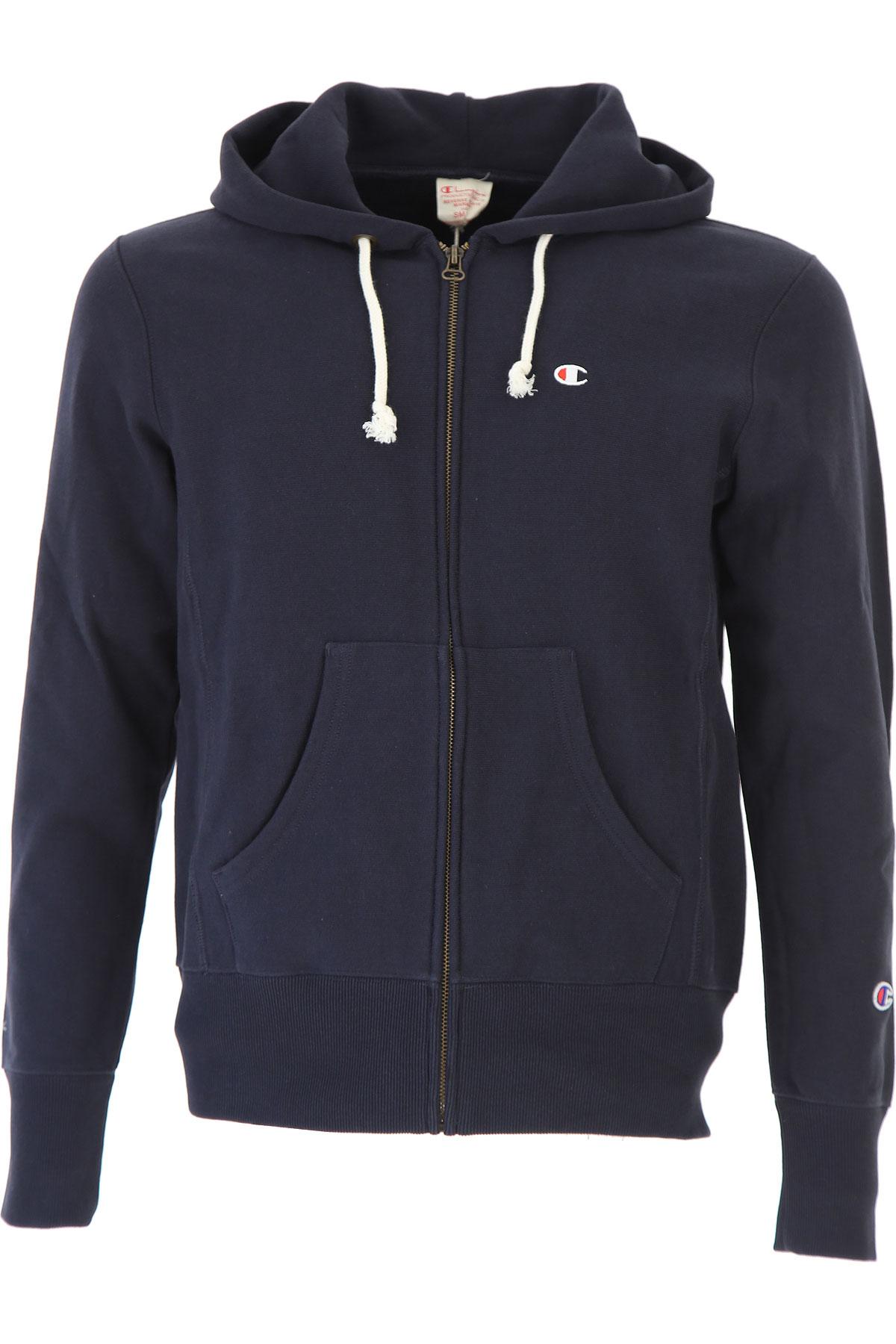 Champion Sweatshirt for Men On Sale, Navy Blue, Cotton, 2017, M S XL USA-460746